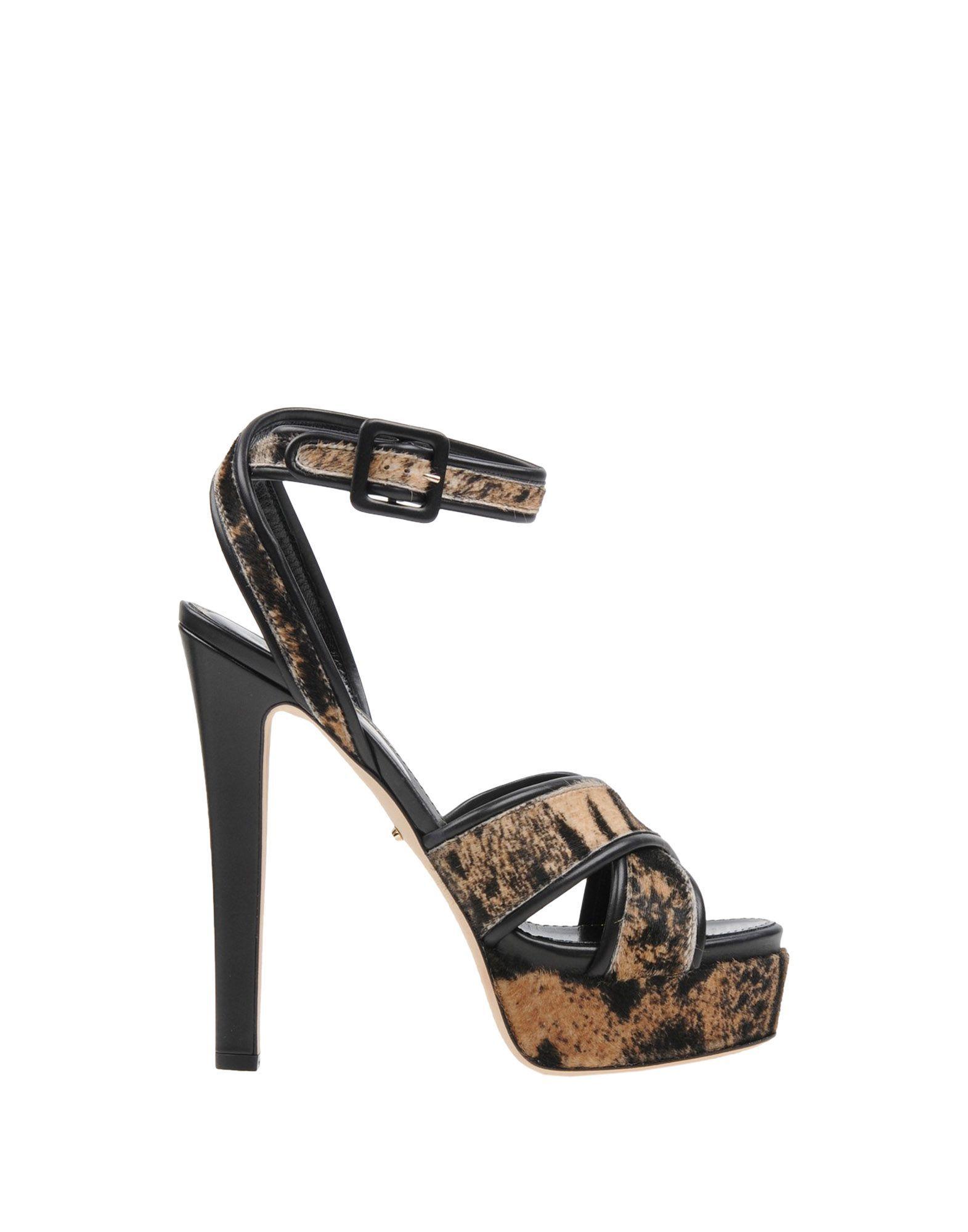 Sergio Rossi Sand Print Leather Heeled Sandals