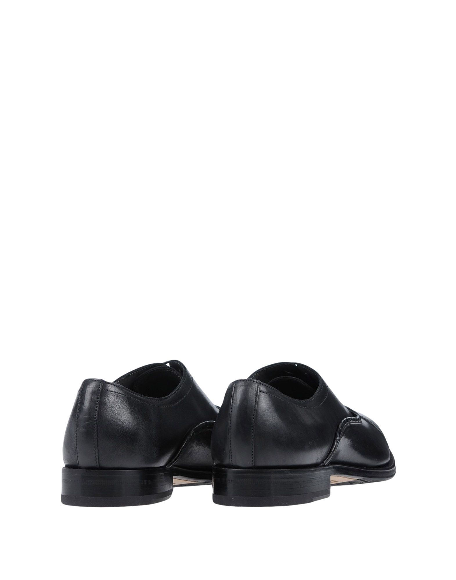 Pollini Black Calf Leather Lace Up Shoes