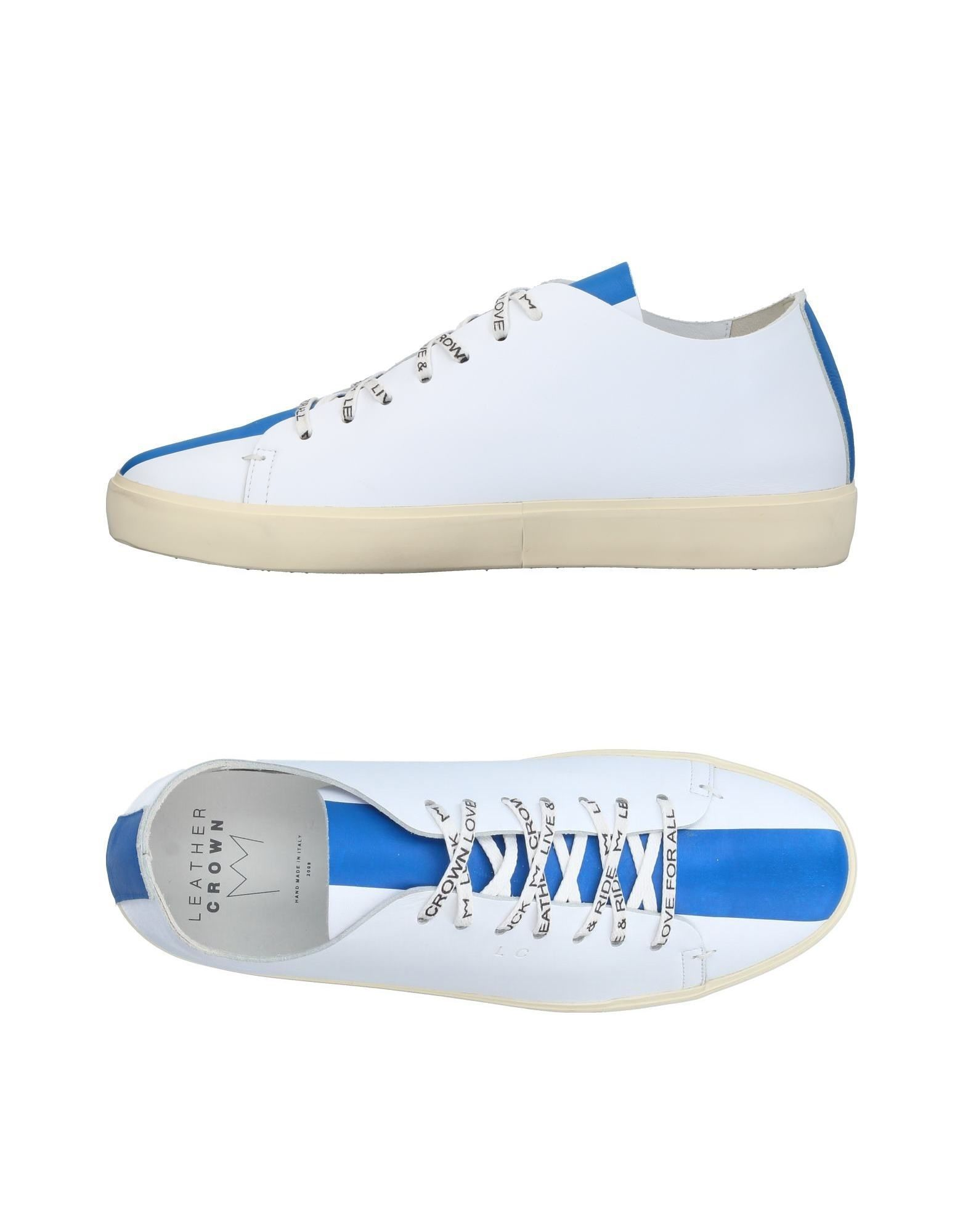 Leather Crown Azure Stripe Leather Sneakers