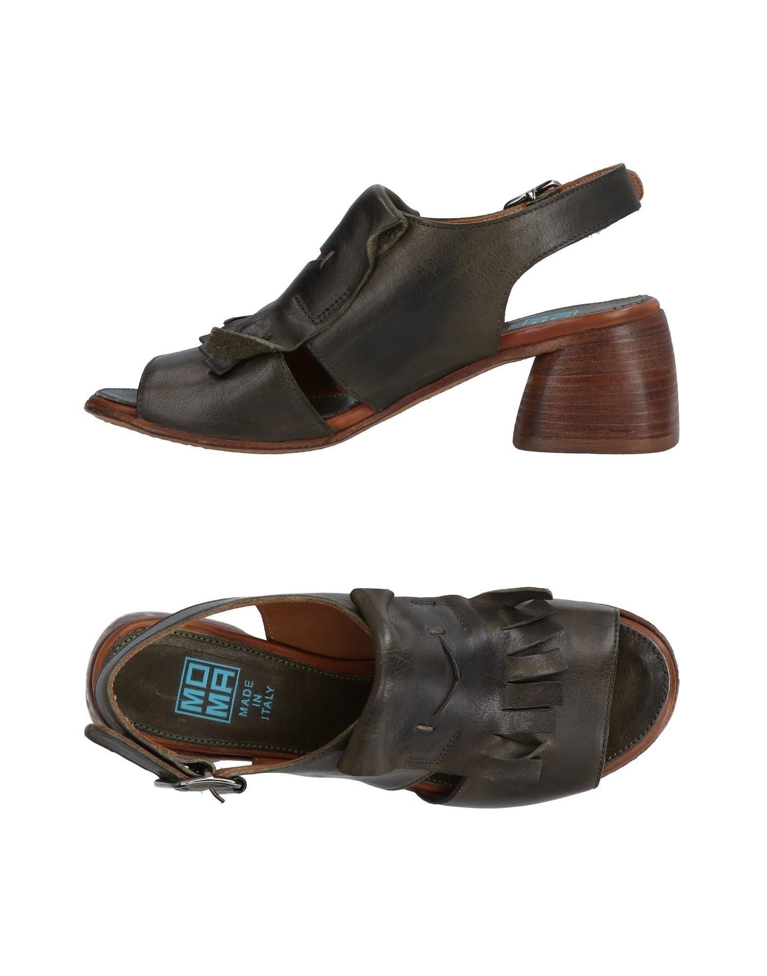 Moma Dark Green Leather Heeled Sandals