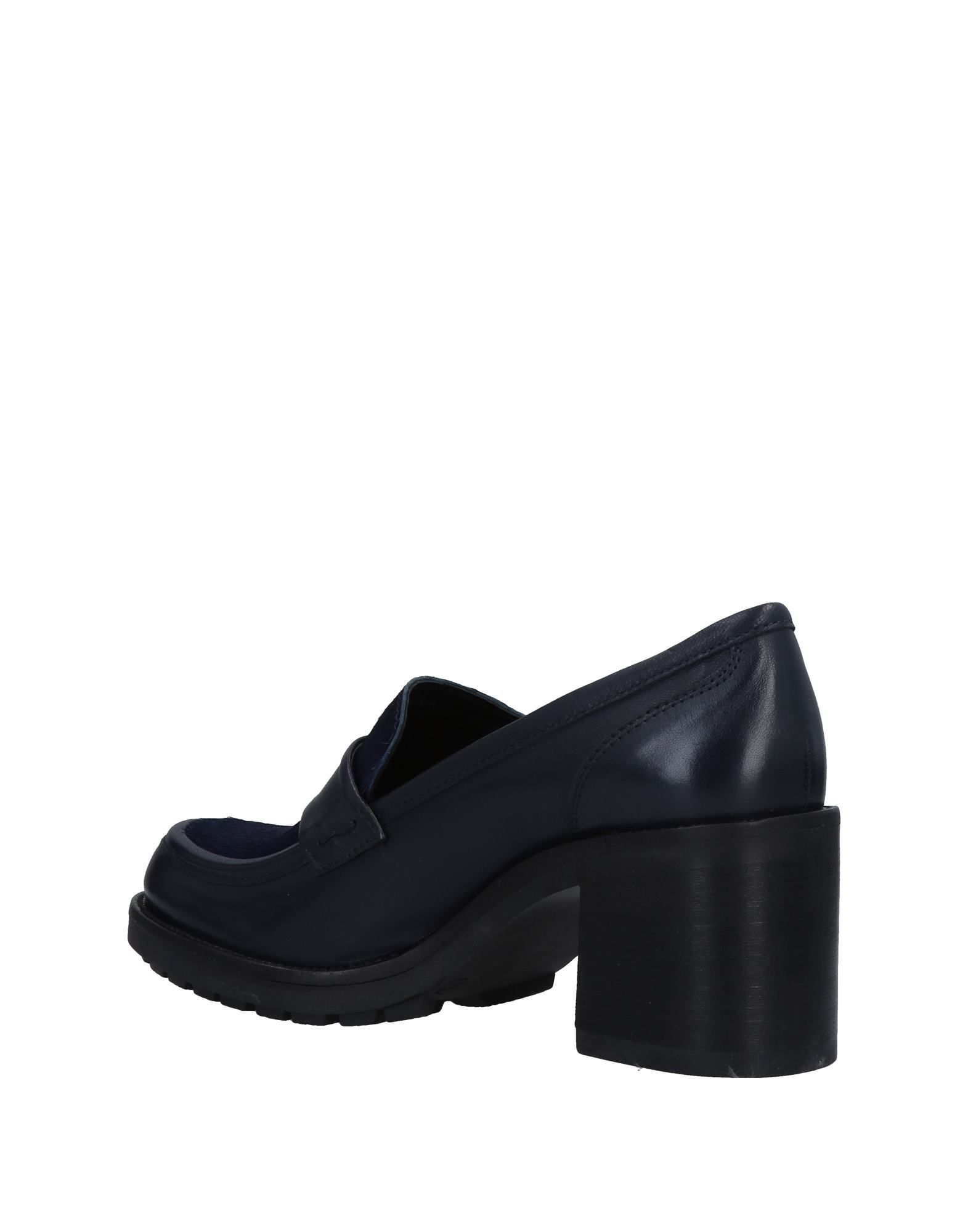 Mally Blue Leather Heeled Loafers