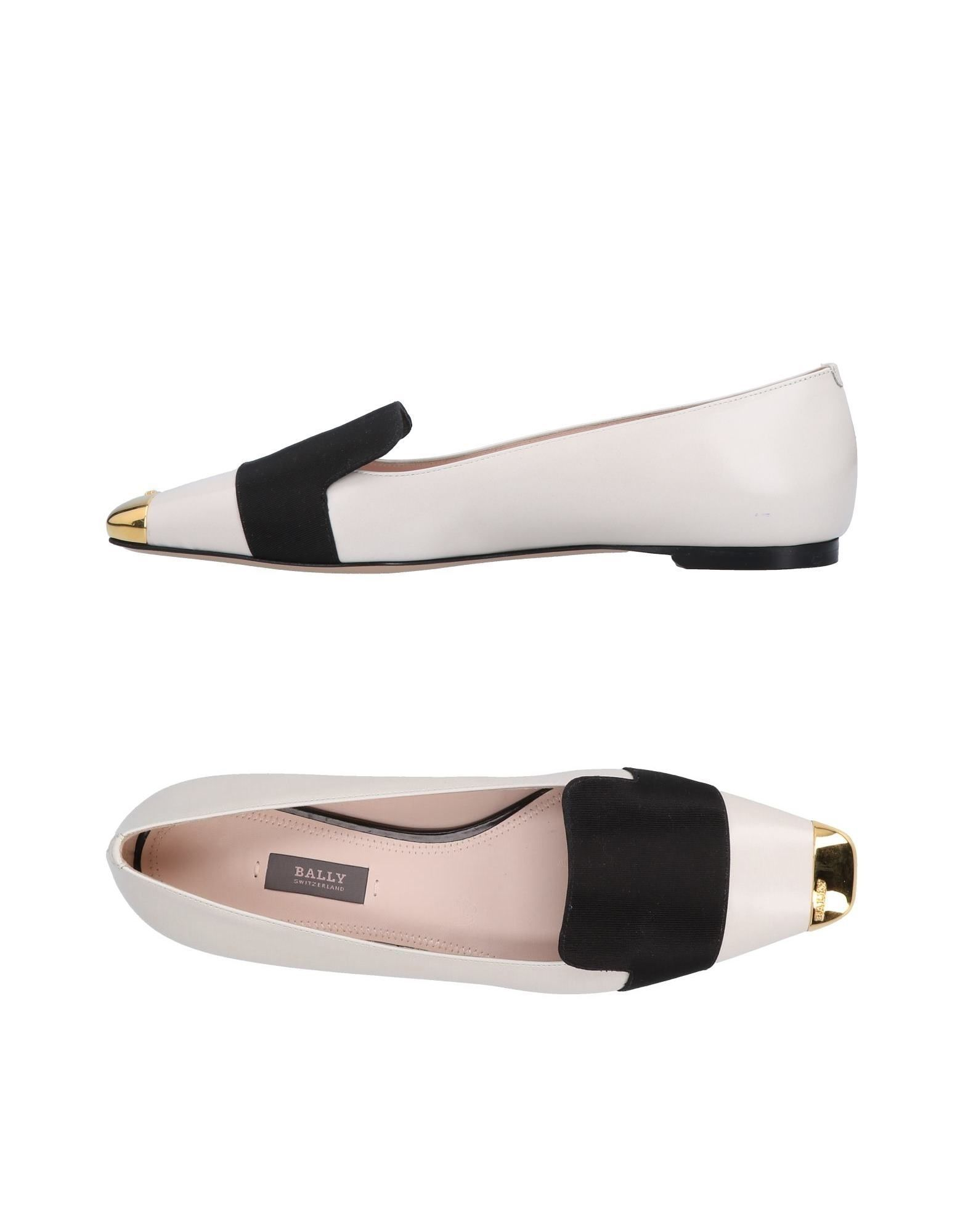 Bally Beige Calf Leather Contrast Loafers
