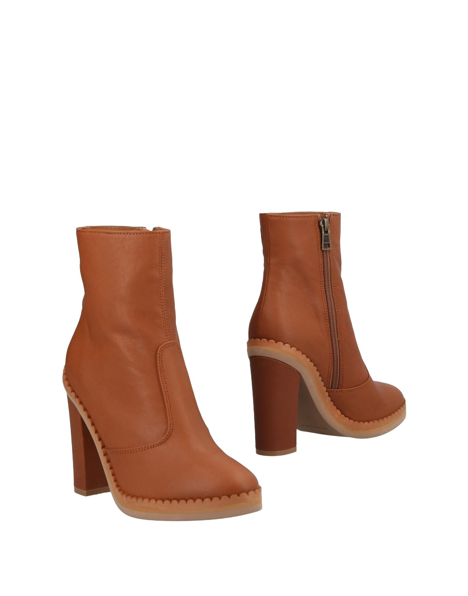 See By Chloe Brown Leather Ankle Boots