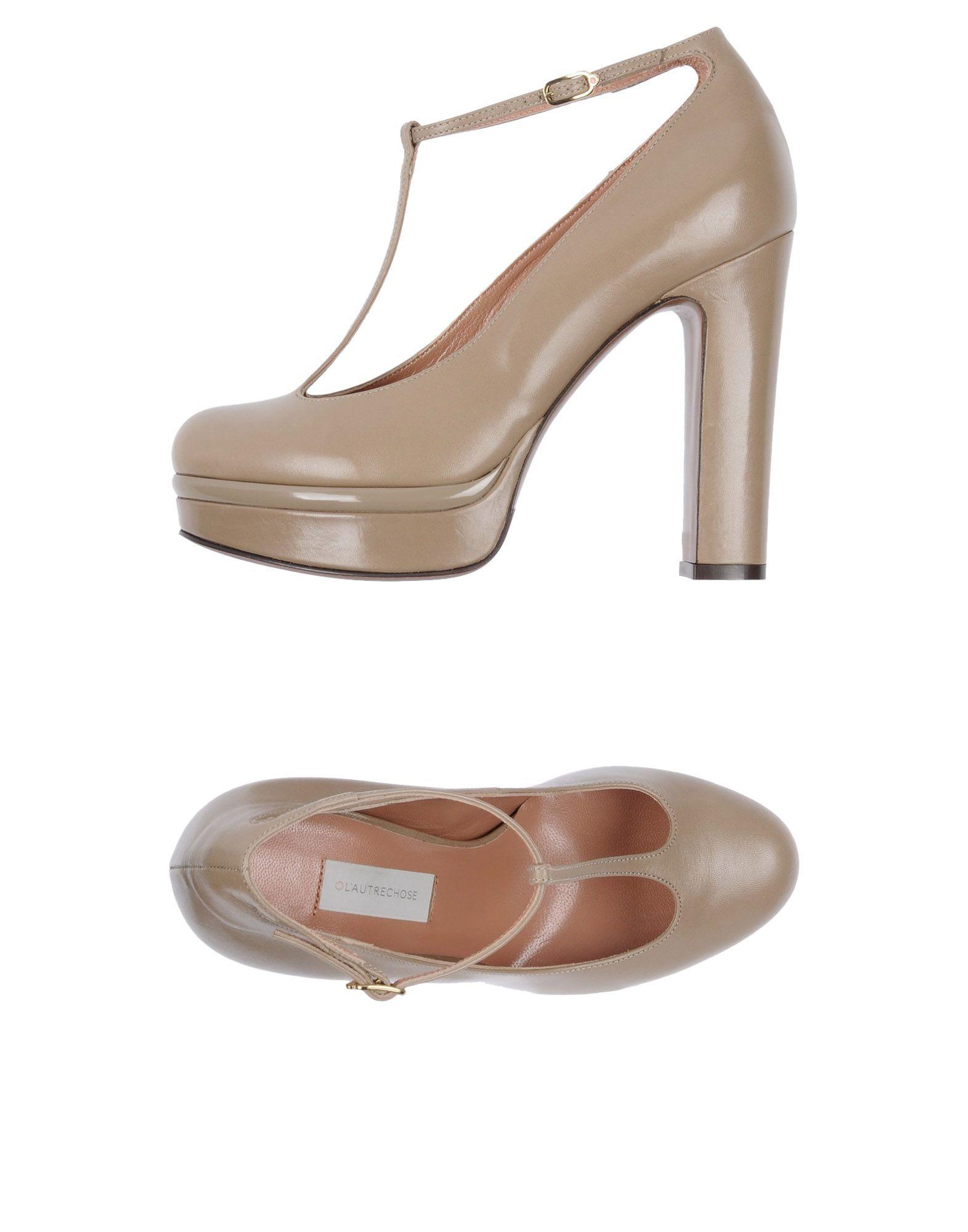 L' Autre Chose Khaki Leather Heels