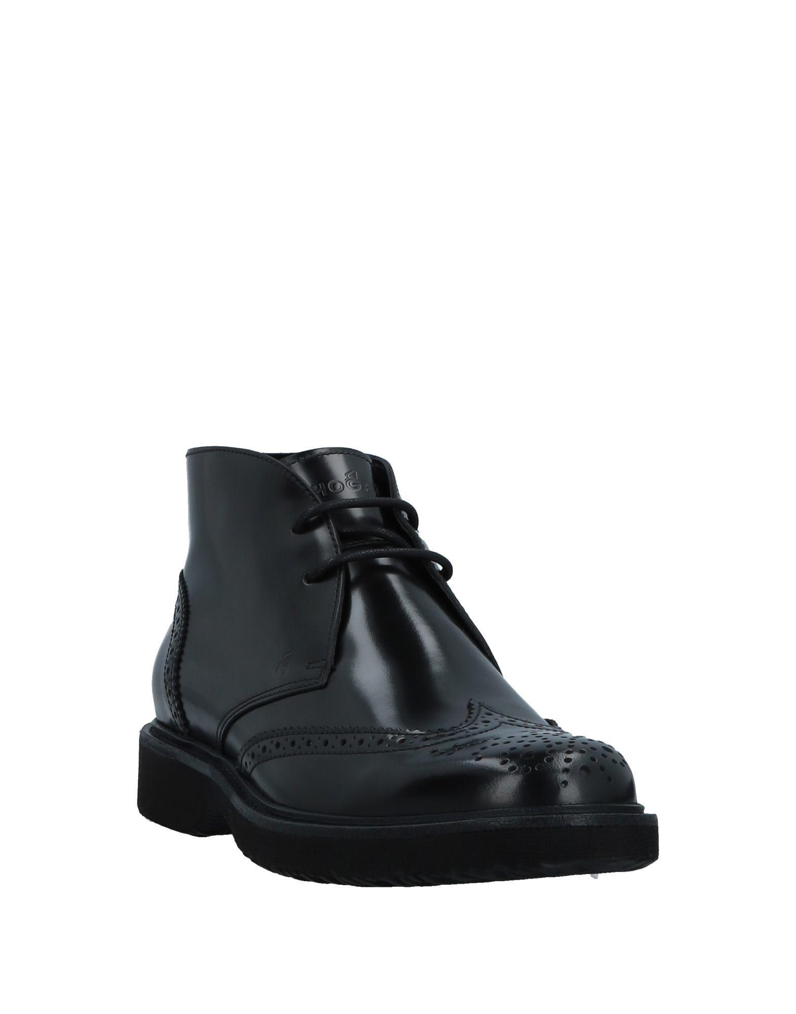 Hogan Black Leather Lace Up Boots