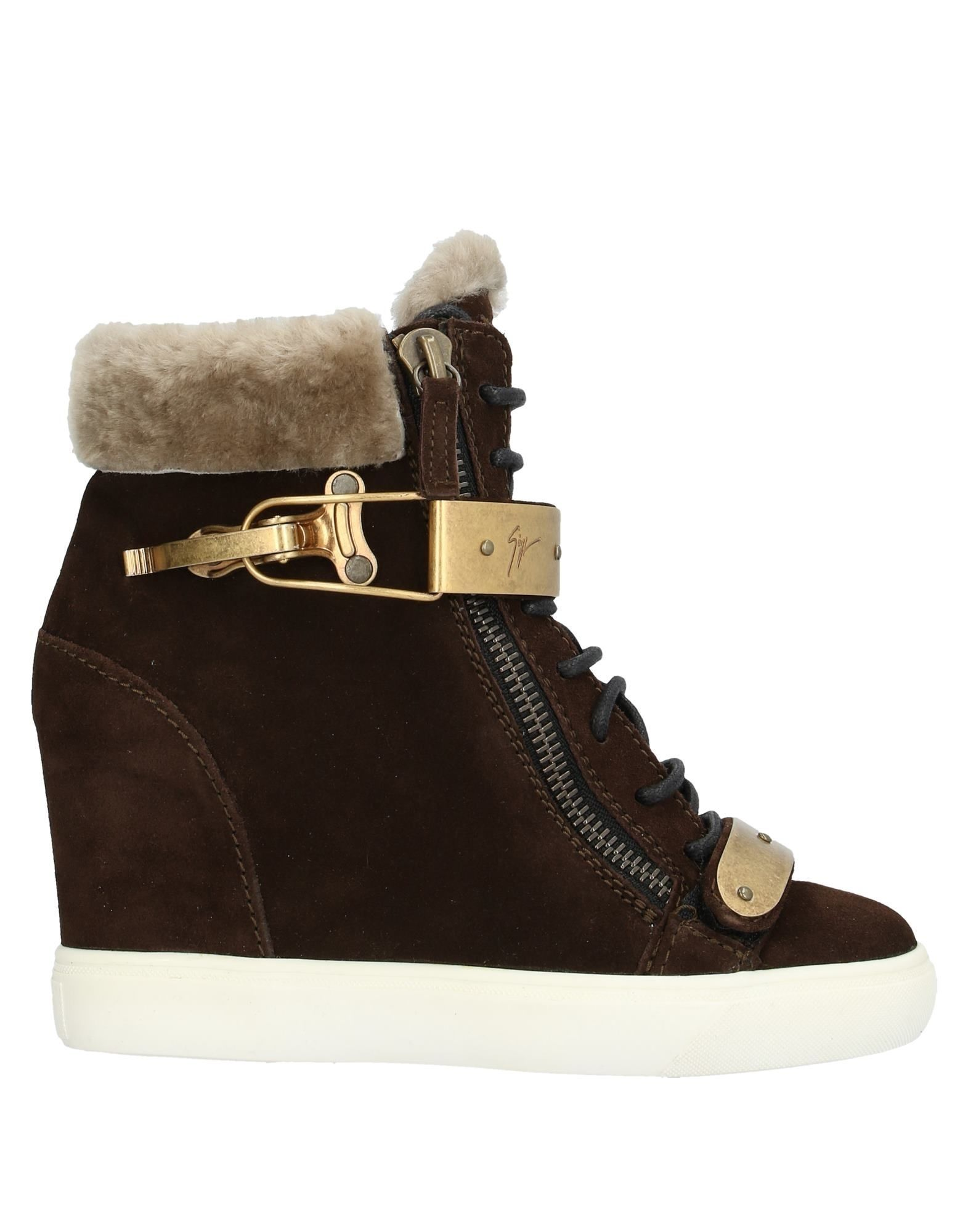 Giuseppe Zanotti Dark Brown Shearling Wedge Ankle Boots