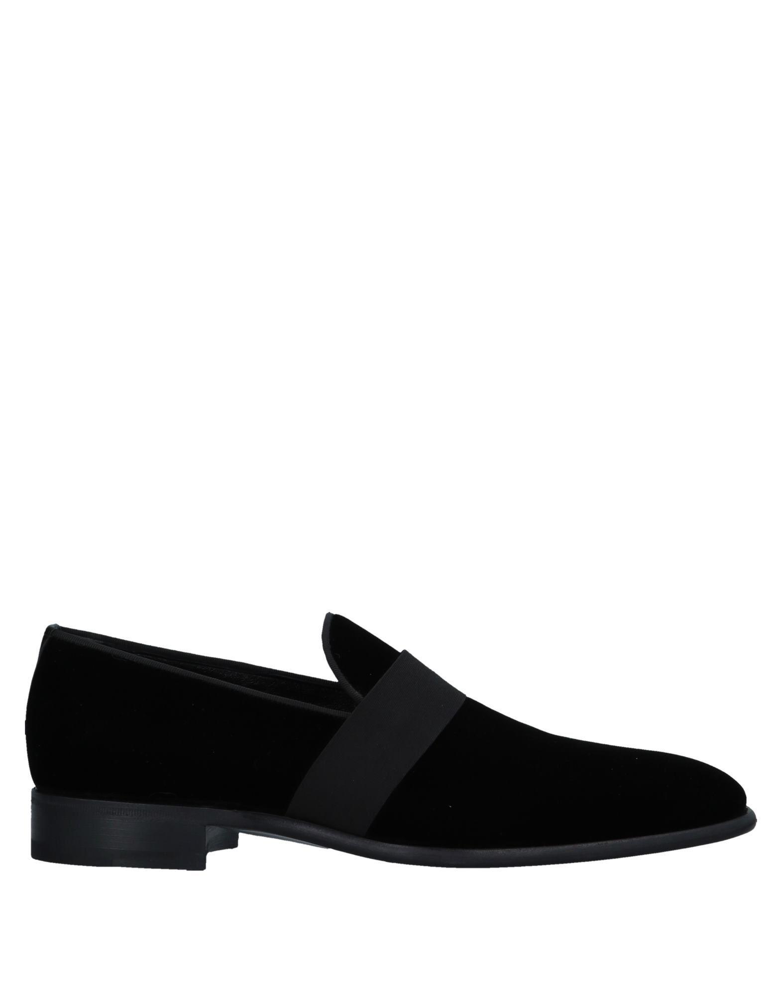 Santoni Black Velvet Loafers