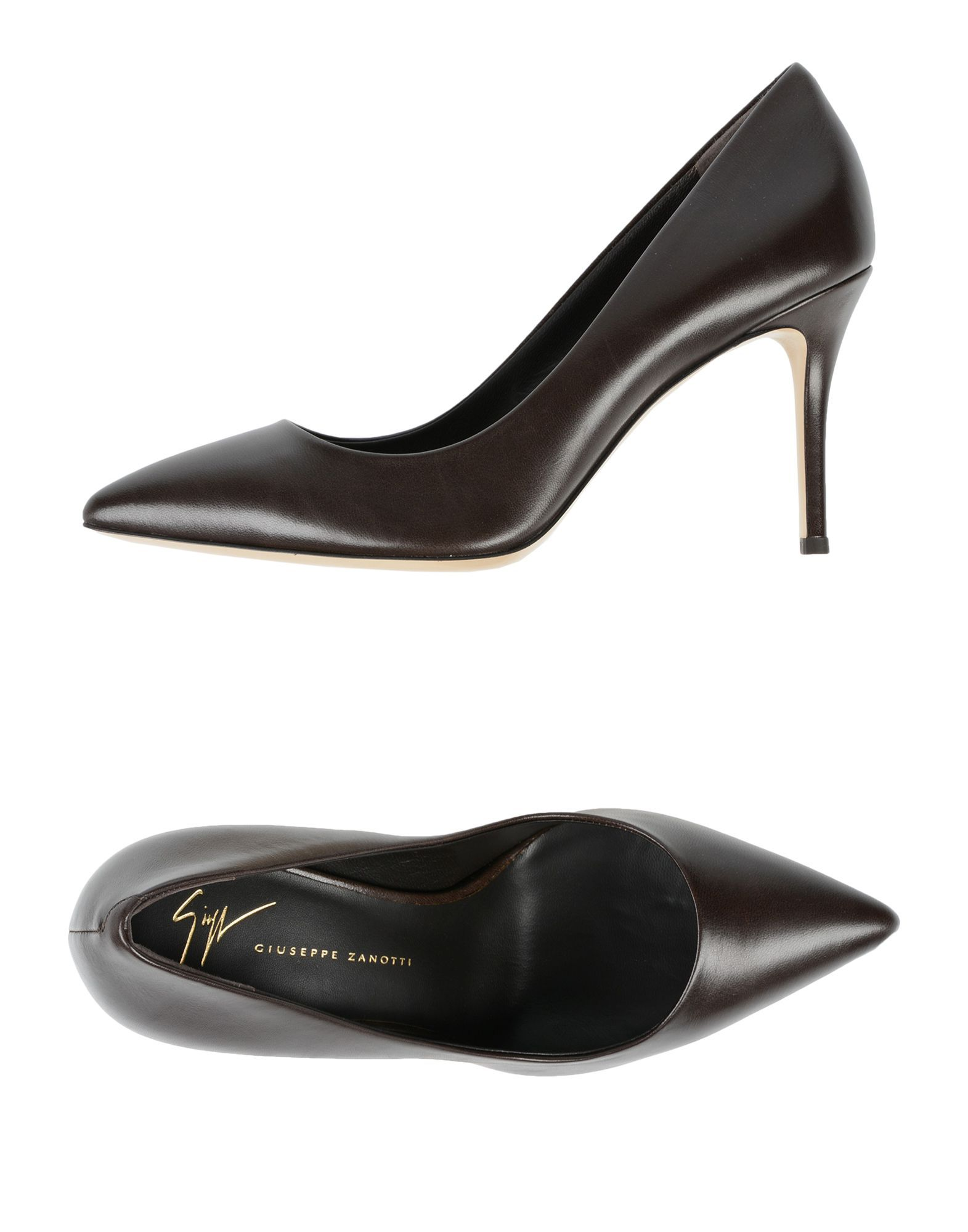 Giuseppe Zanotti Dark Brown Leather Pointed Court Shoes