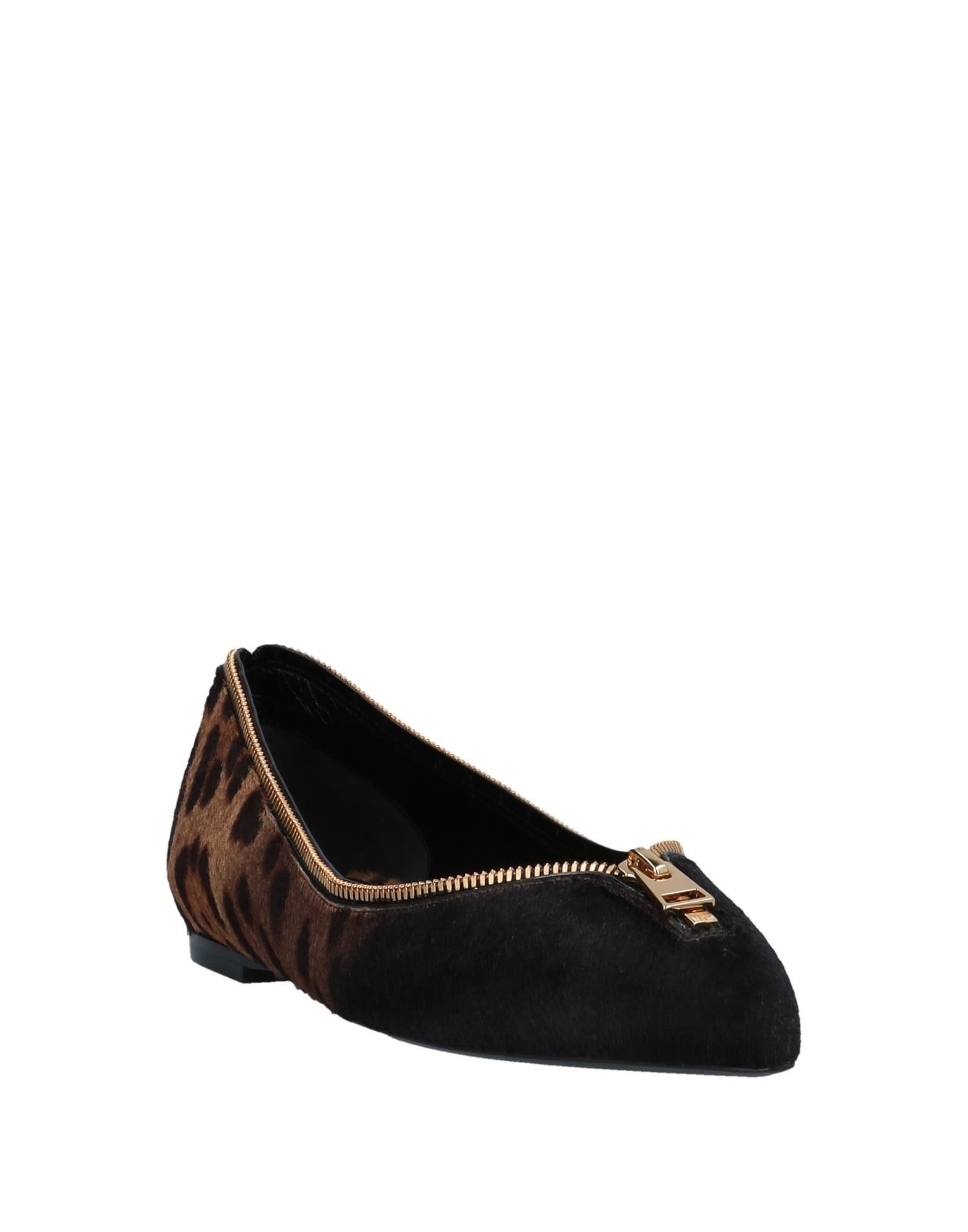 Tom Ford Beige Print Leather Pointed Ballet Flats