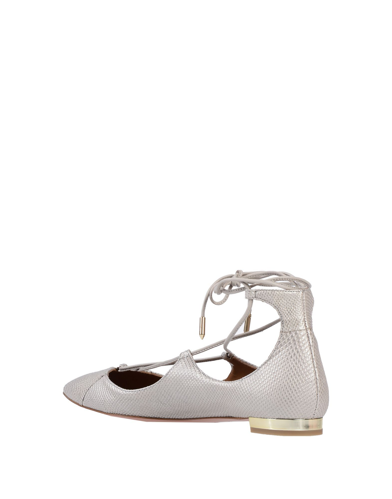 Aquazzura Light Grey Printed Leather Strapped Ballet Flats