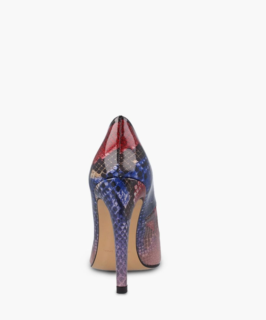 Blue & red snake-effect stiletto heels