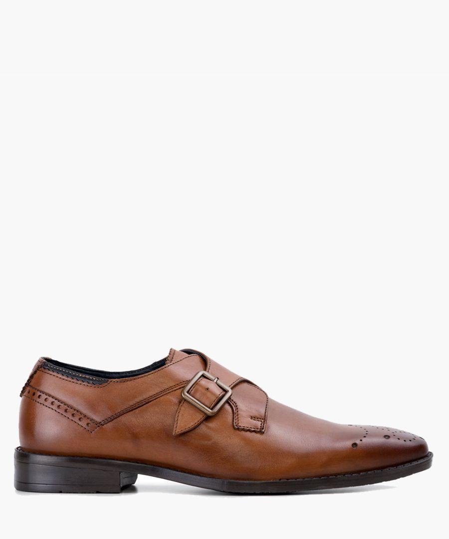 Tan leather monk strap shoes
