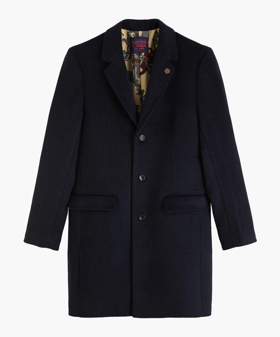 Midnight blue wool-blend classic single coat