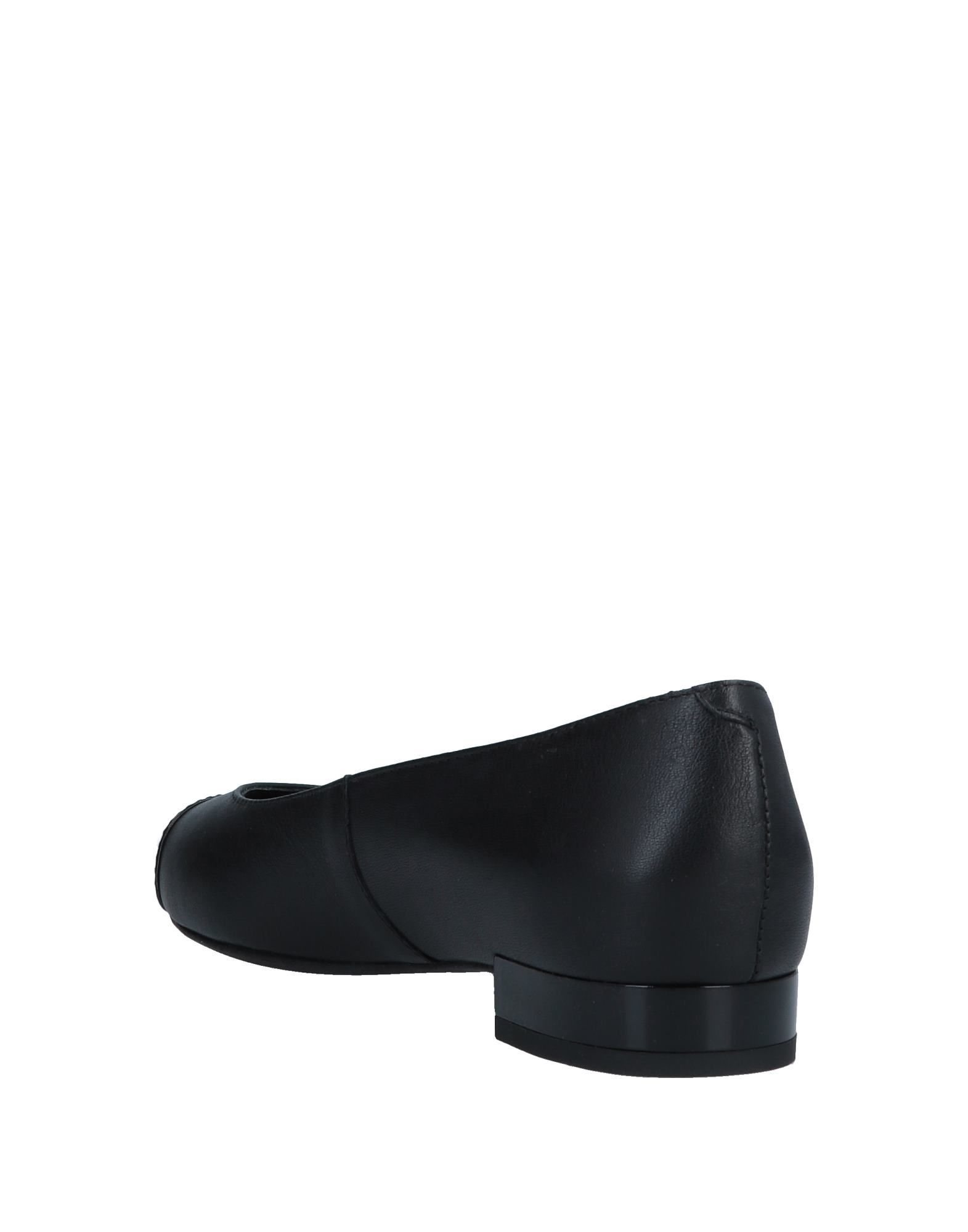 Geox Black Leather Pointed Ballet Flats