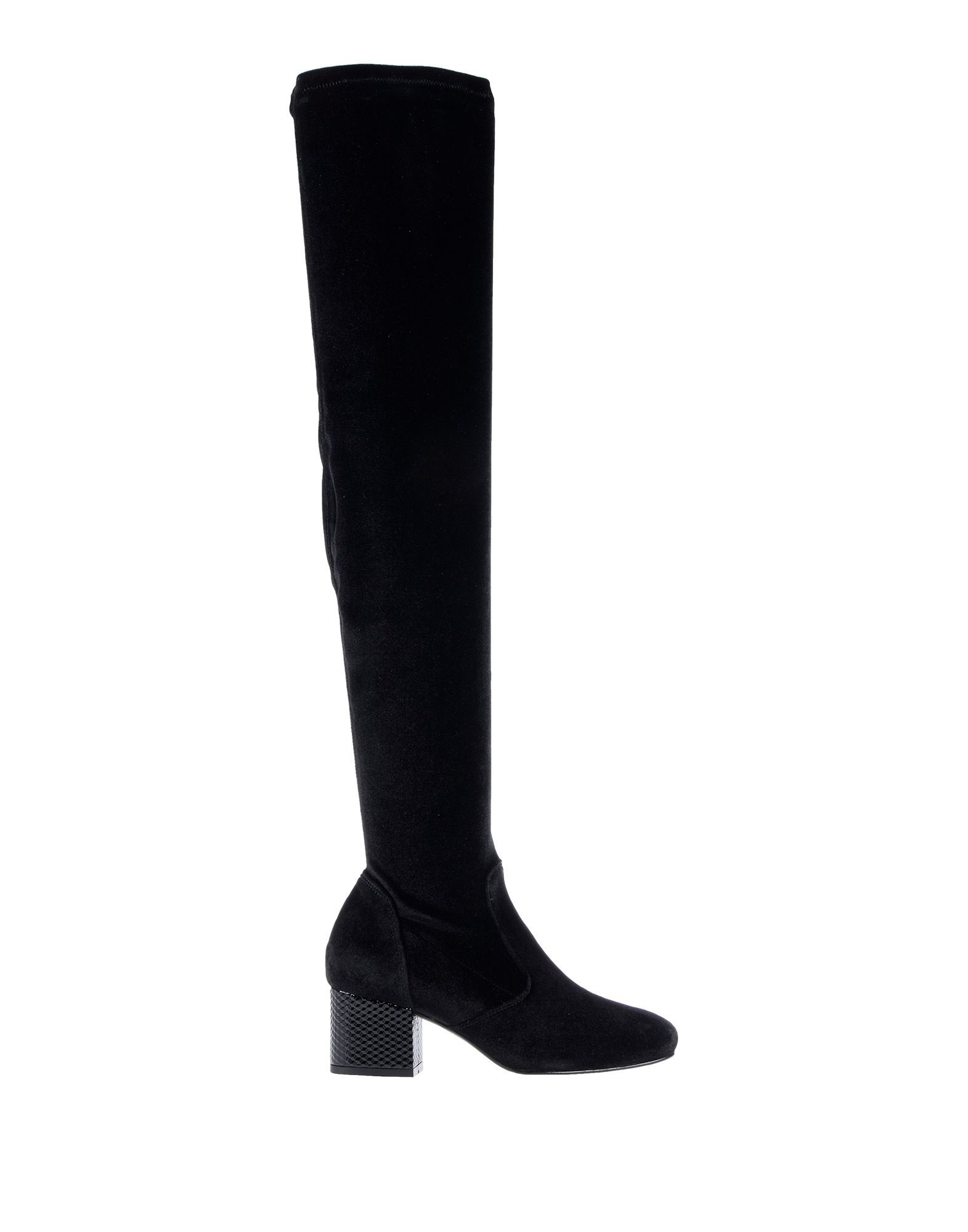 Pollini Black Chenille Over The Knee Boots