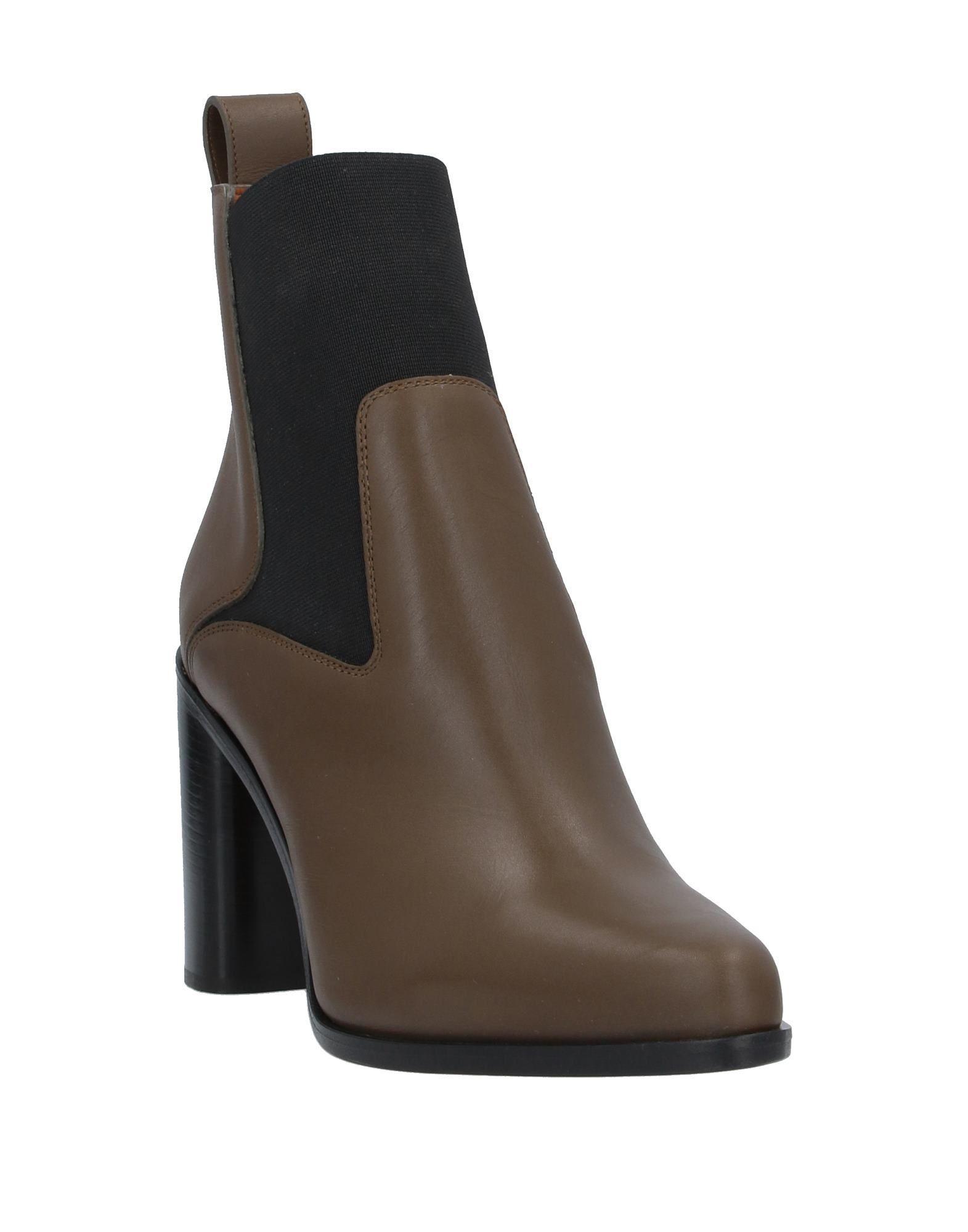 Chloe Khaki Leather Ankle Boots