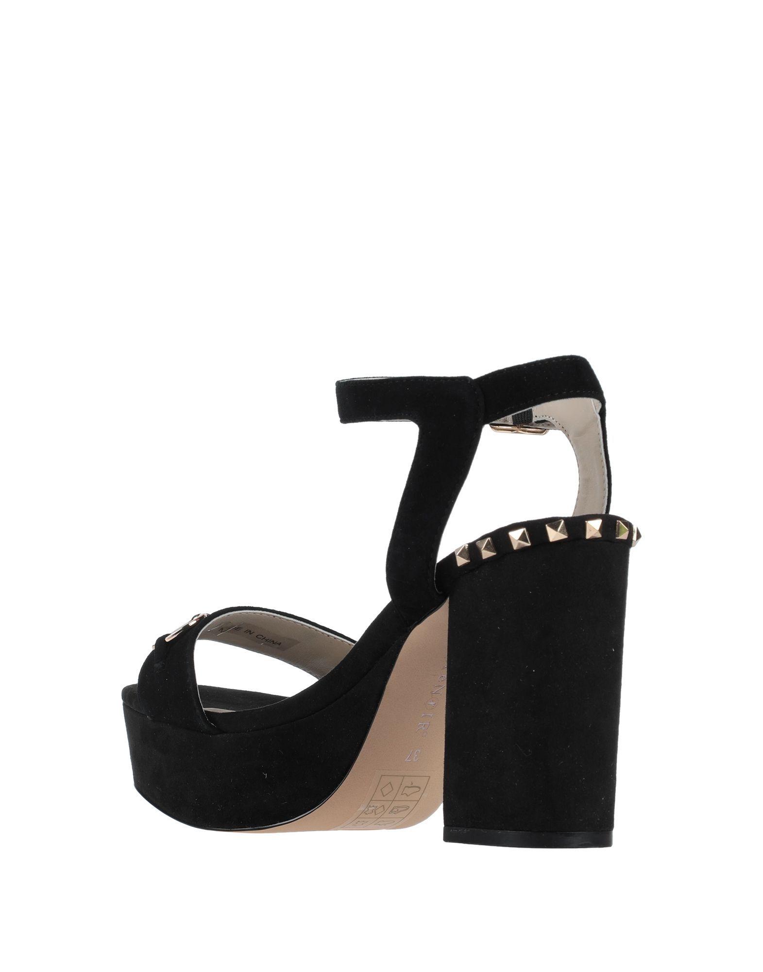 Cafenoir Black Leather Studded Heeled Sandals