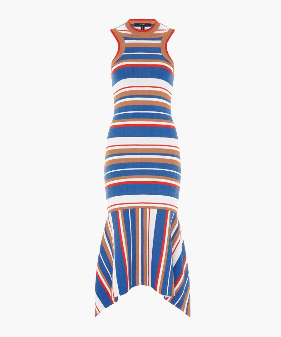 Adorlee blue & orange knit midi dress
