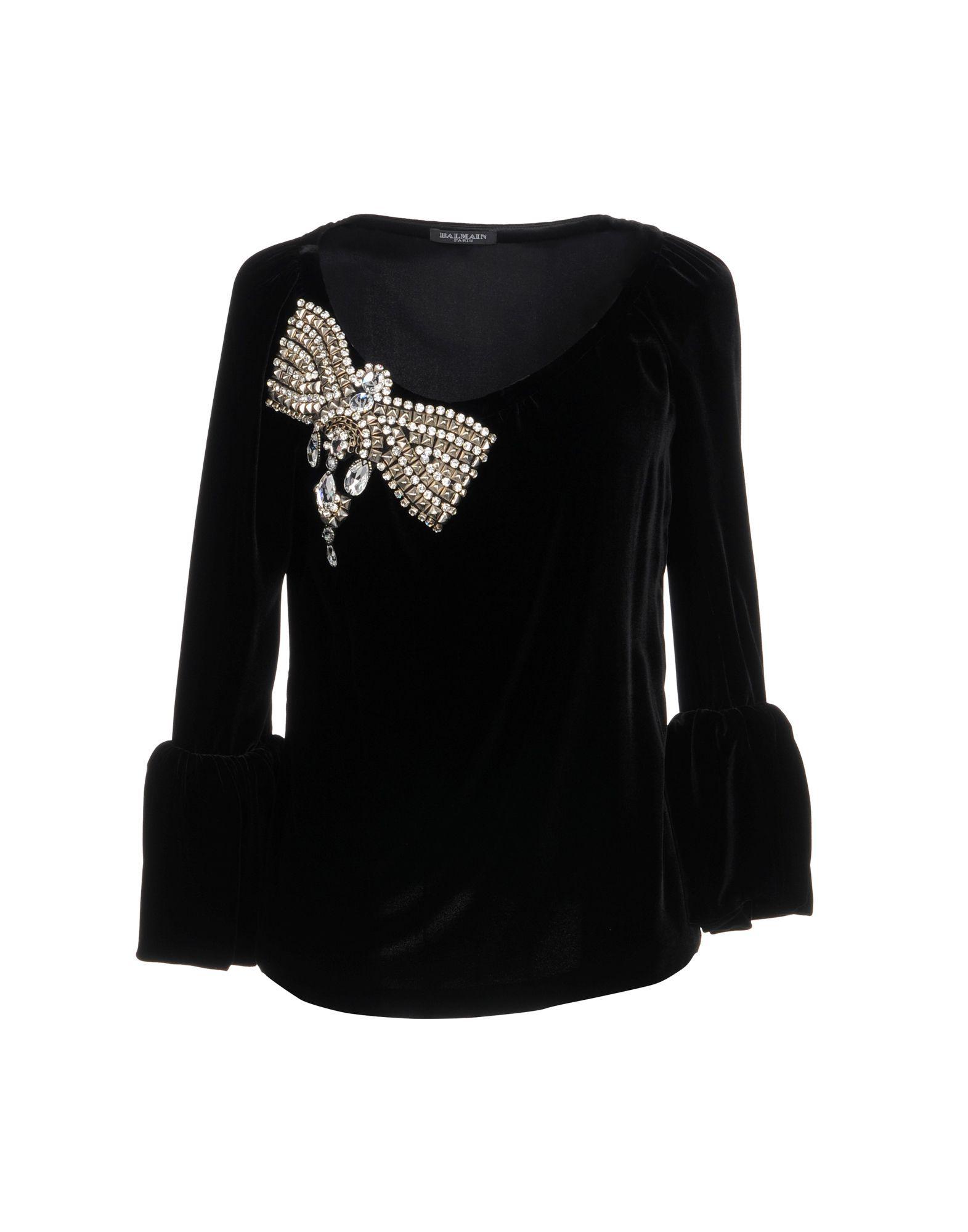 Balmain Black Chenille And Rhinestones Shirt