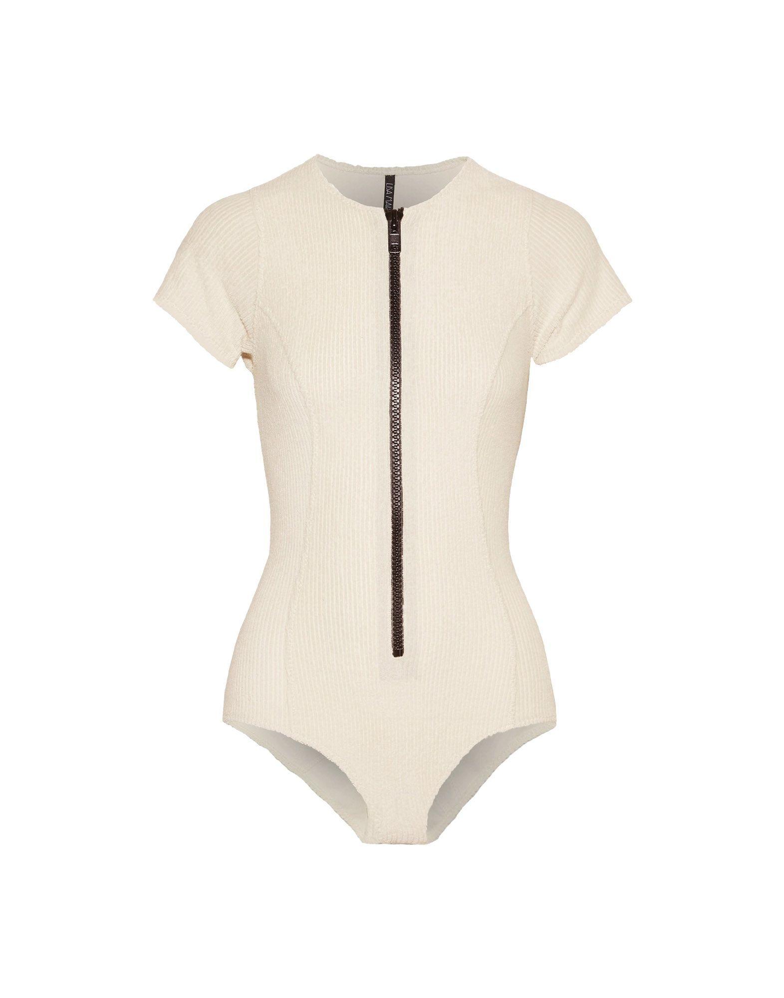 Lisa Marie Fernandez Ivory Zip Front Swimsuit
