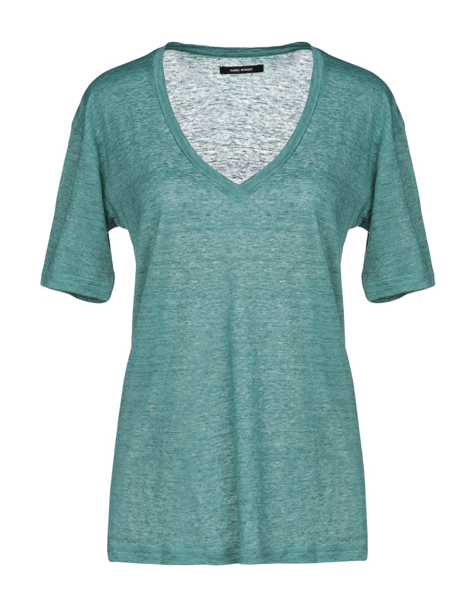 Isabel Marant Green Linen V-Neck T-Shirt