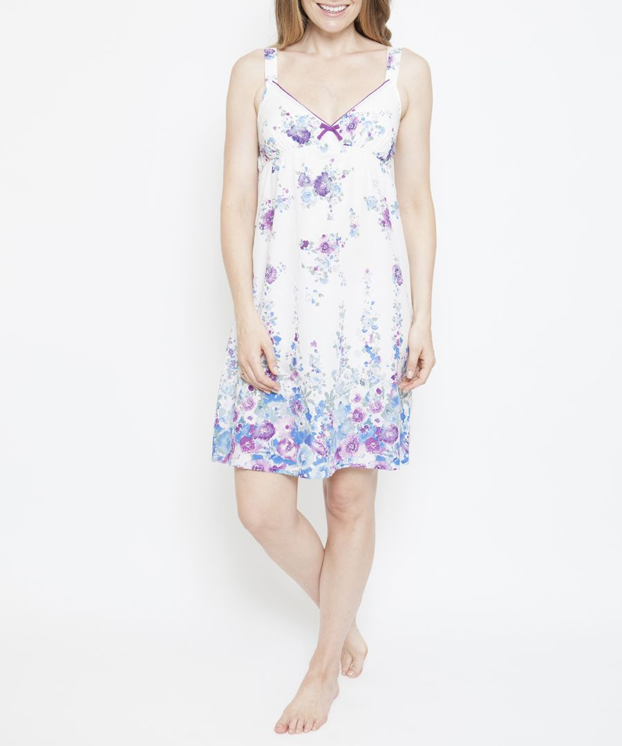 Andrea white cotton-blend floral print chemise