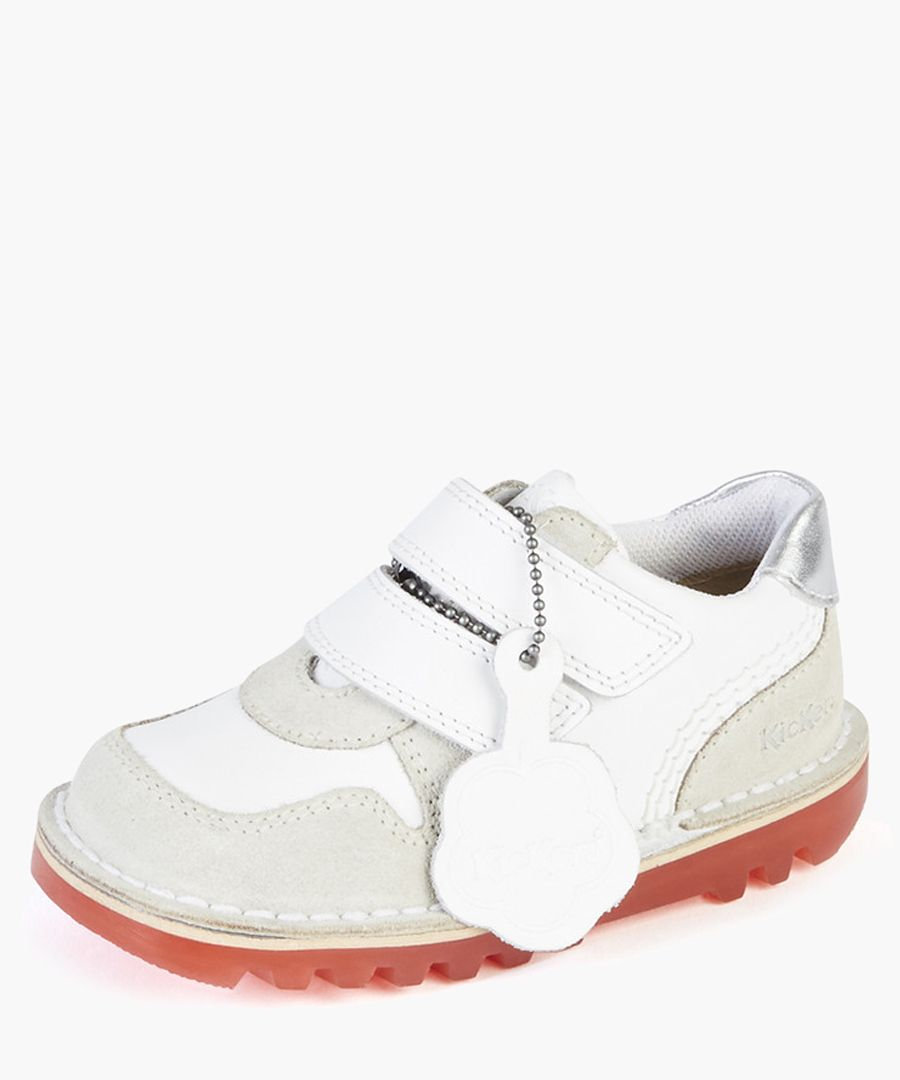 Kids Glow white leather sneakers