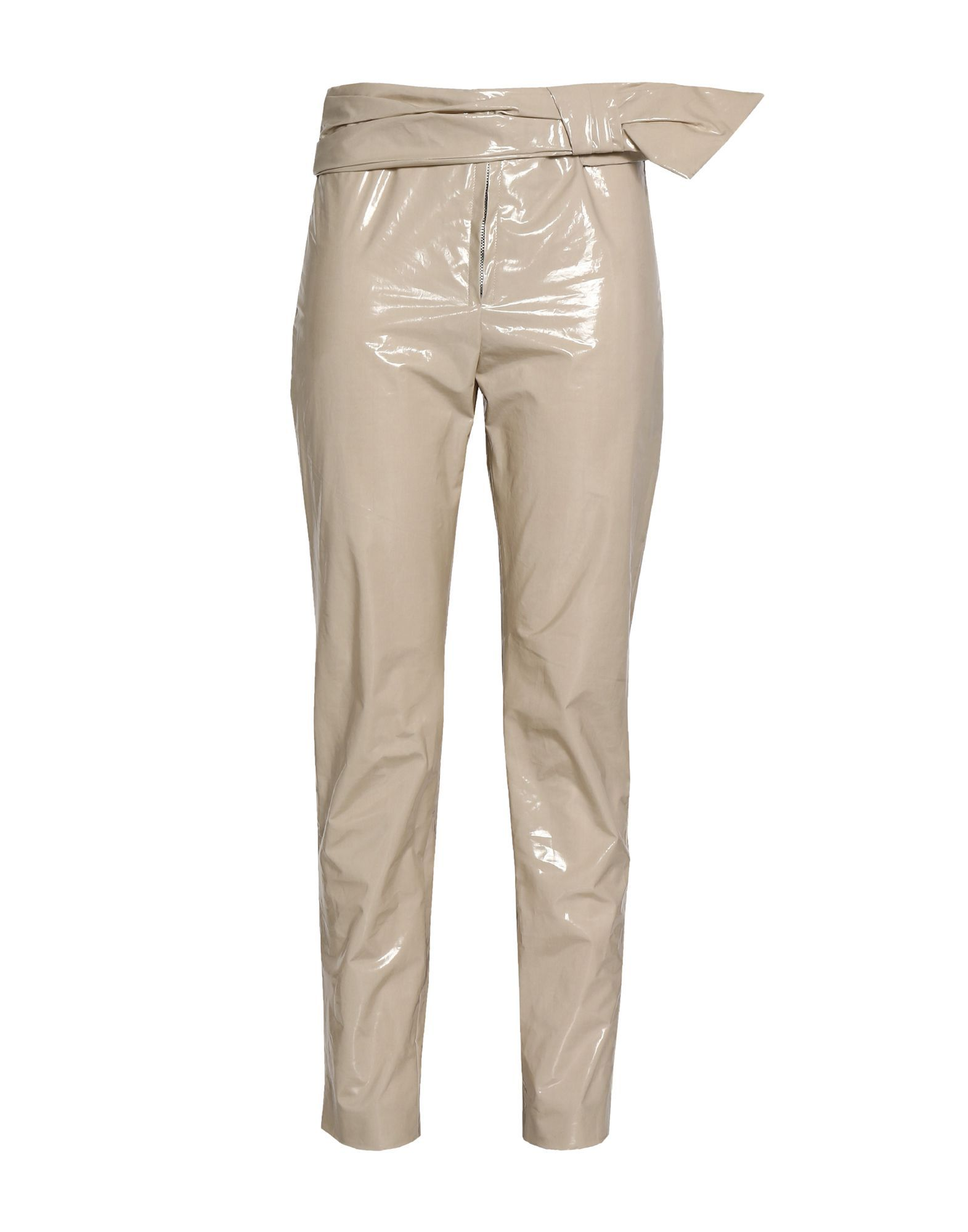 Isabel Marant Beige Varnished Effect Cotton High Waisted Trousers