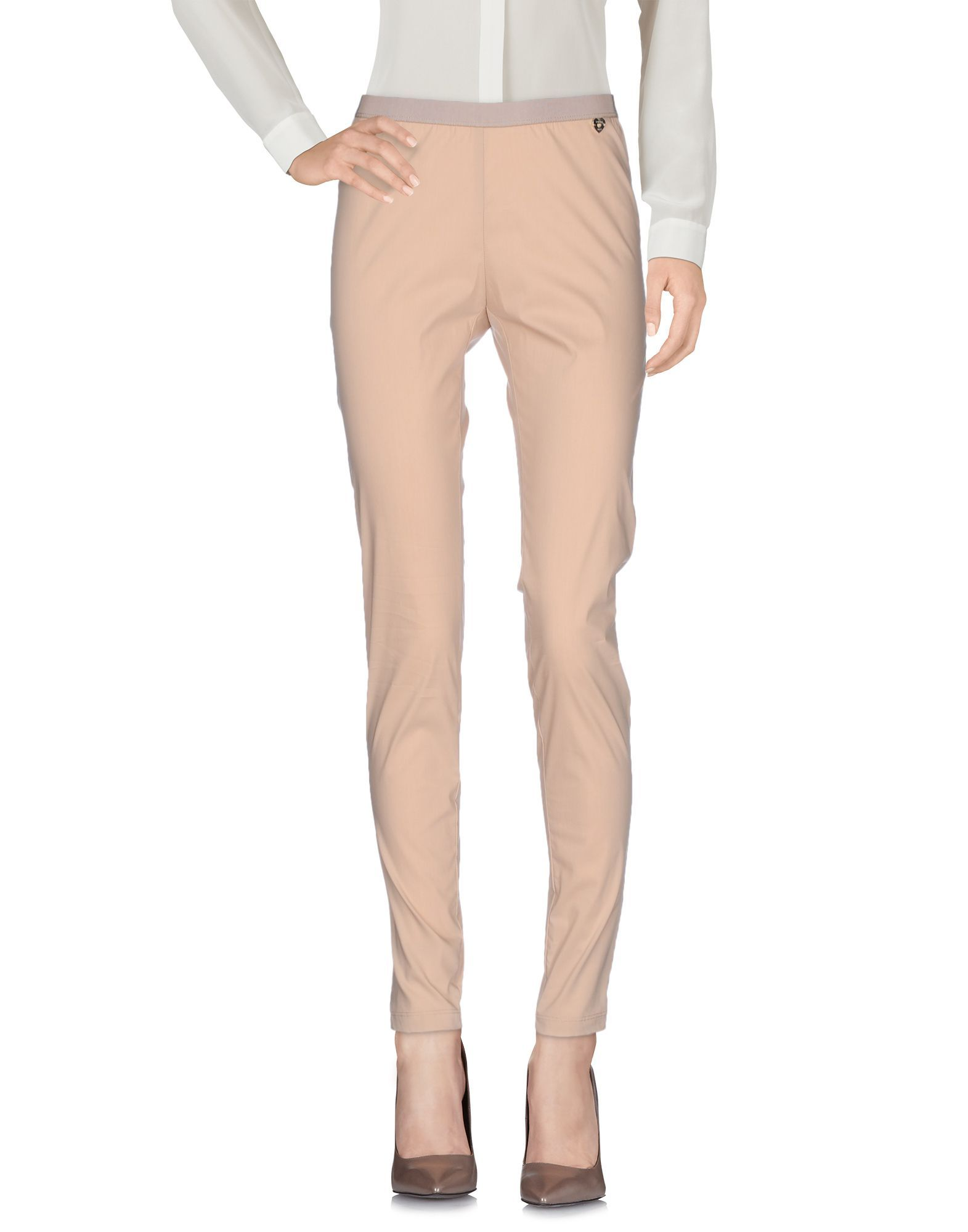 Twinset Beige Cotton Slim Fit Tapered Trousers