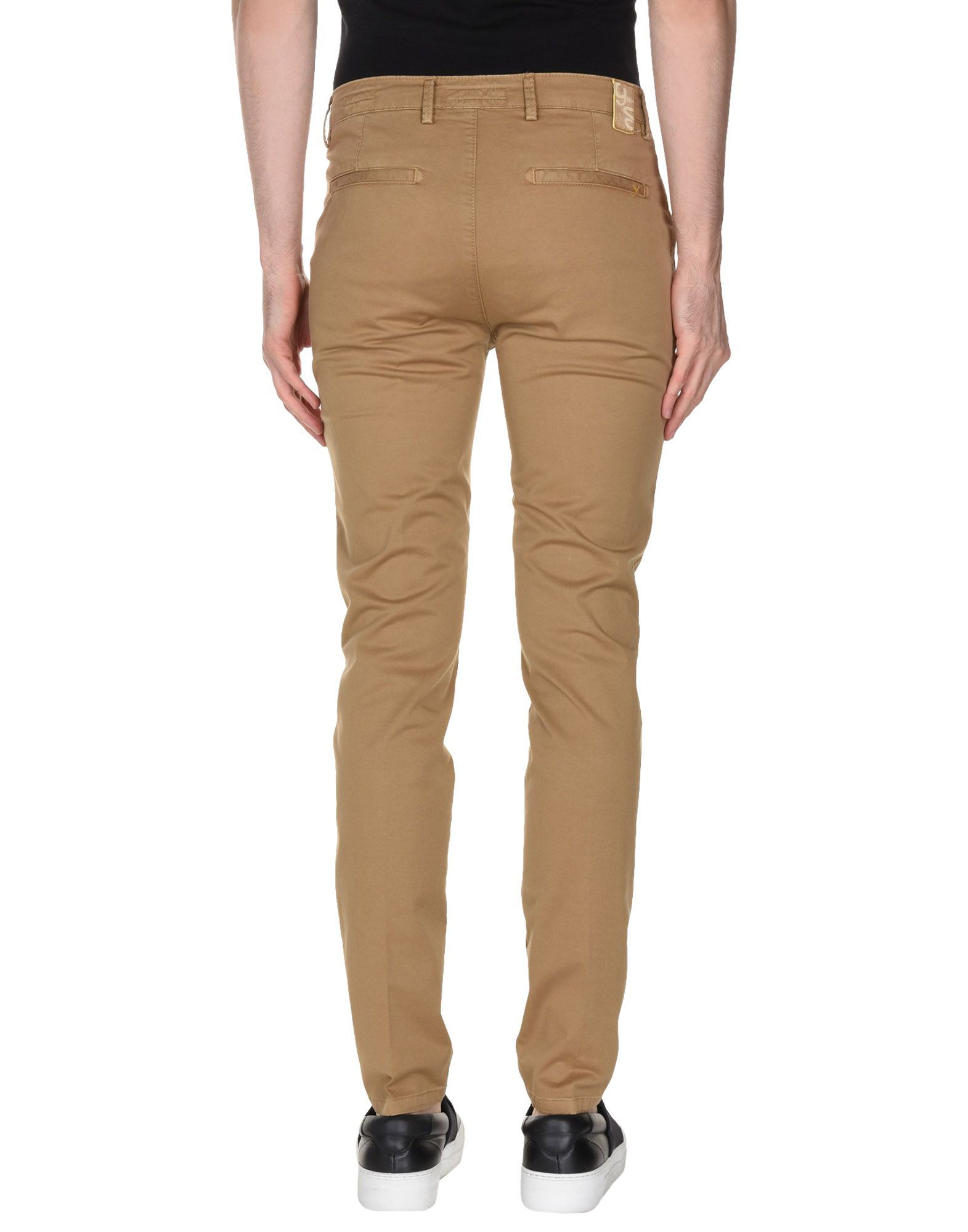 Camel cotton twill mid-rise trousers