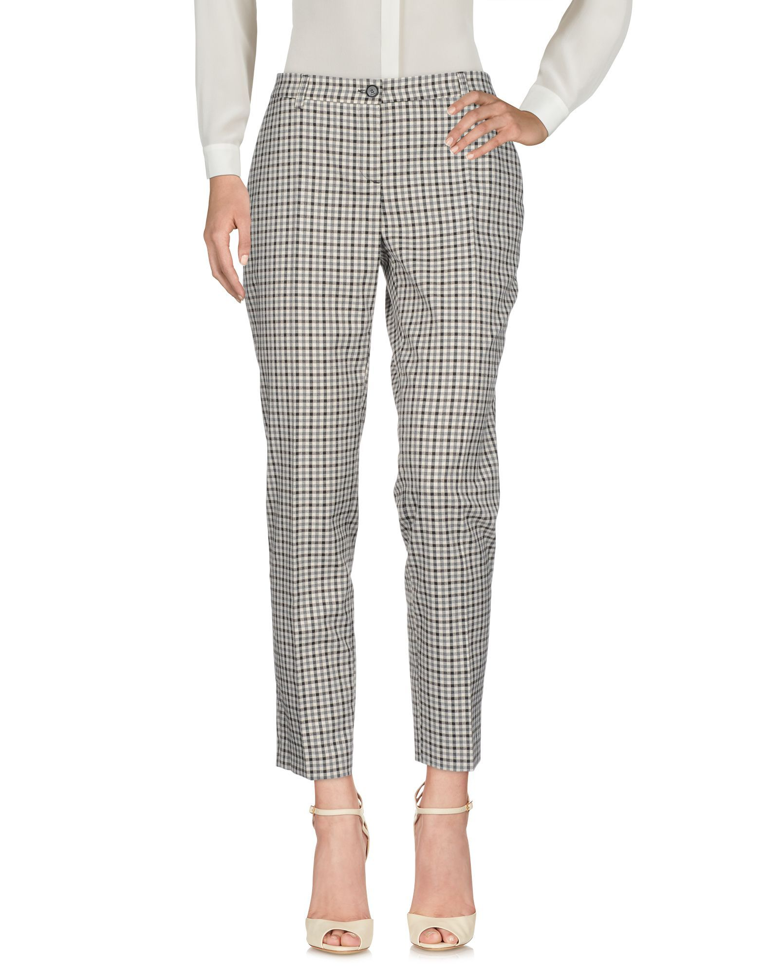 Twinset Grey Check Straight Leg Trousers