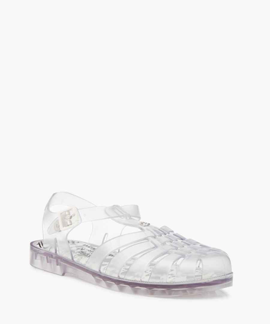 Clear pin orb sandals