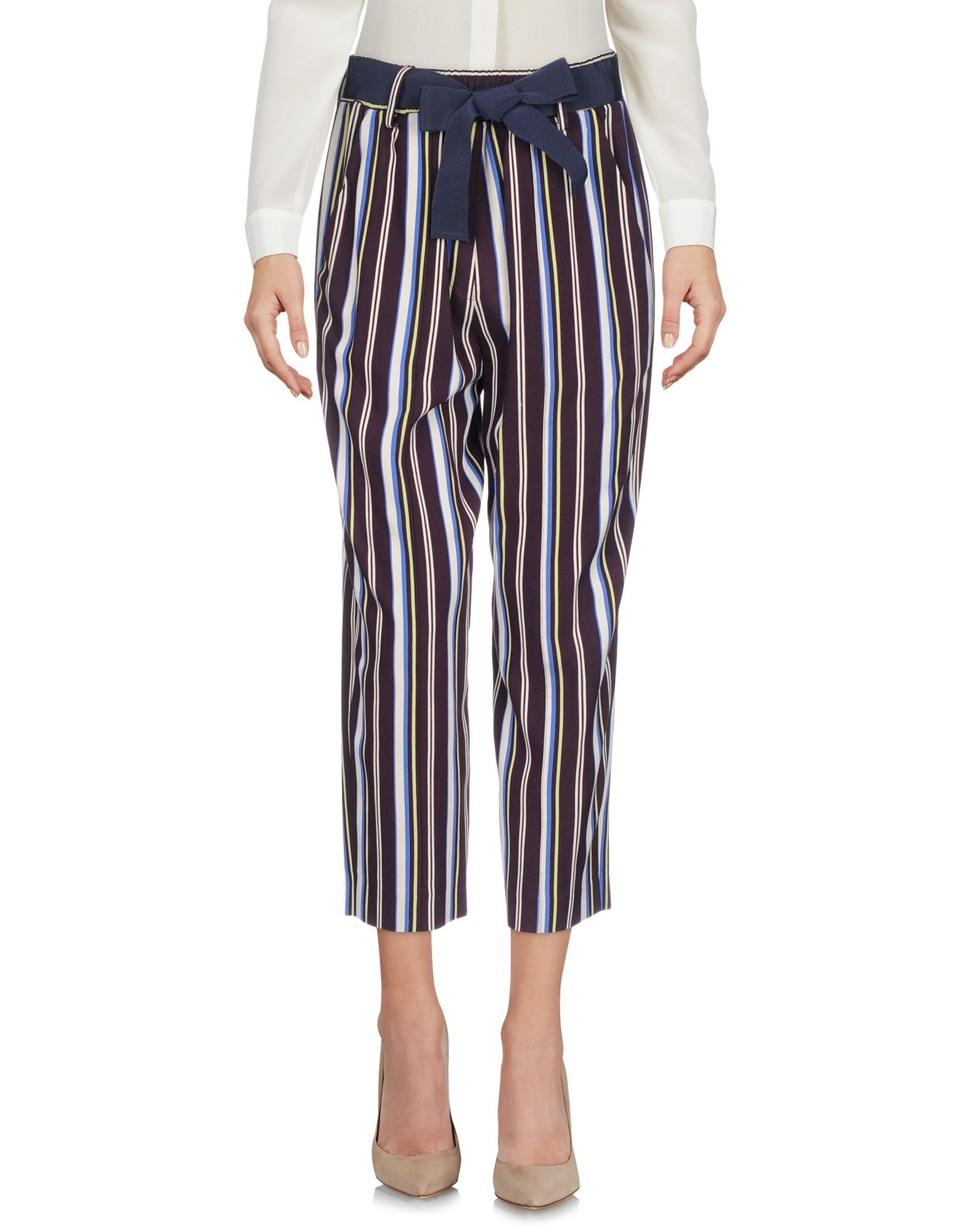 Alysi Deep Purple Stripe Print Cropped Trousers