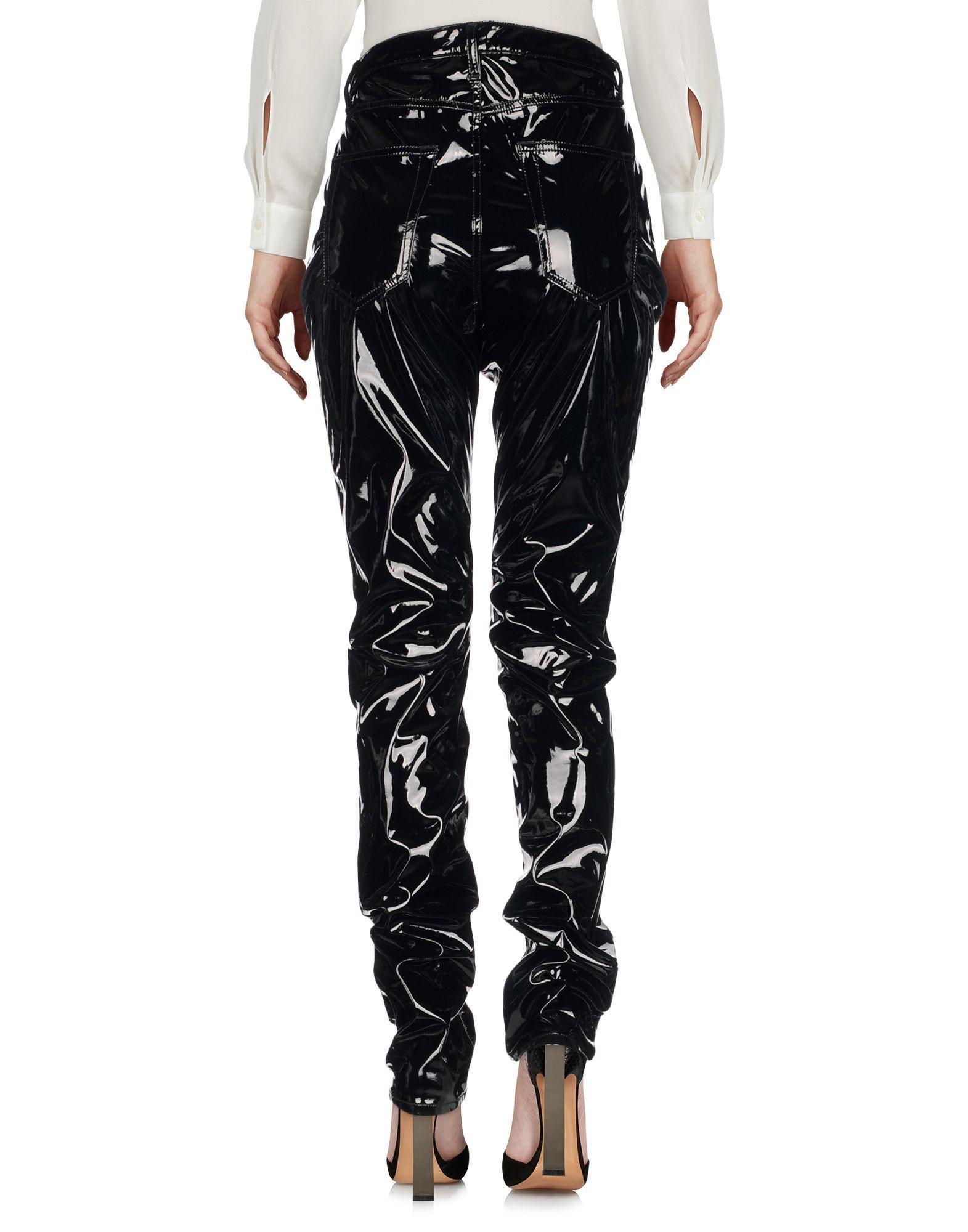 Saint Laurent Black Faux Leather Trousers
