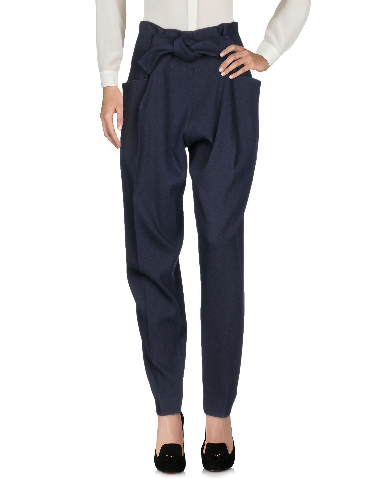 Victoria Beckham Dark Blue Wool Trousers