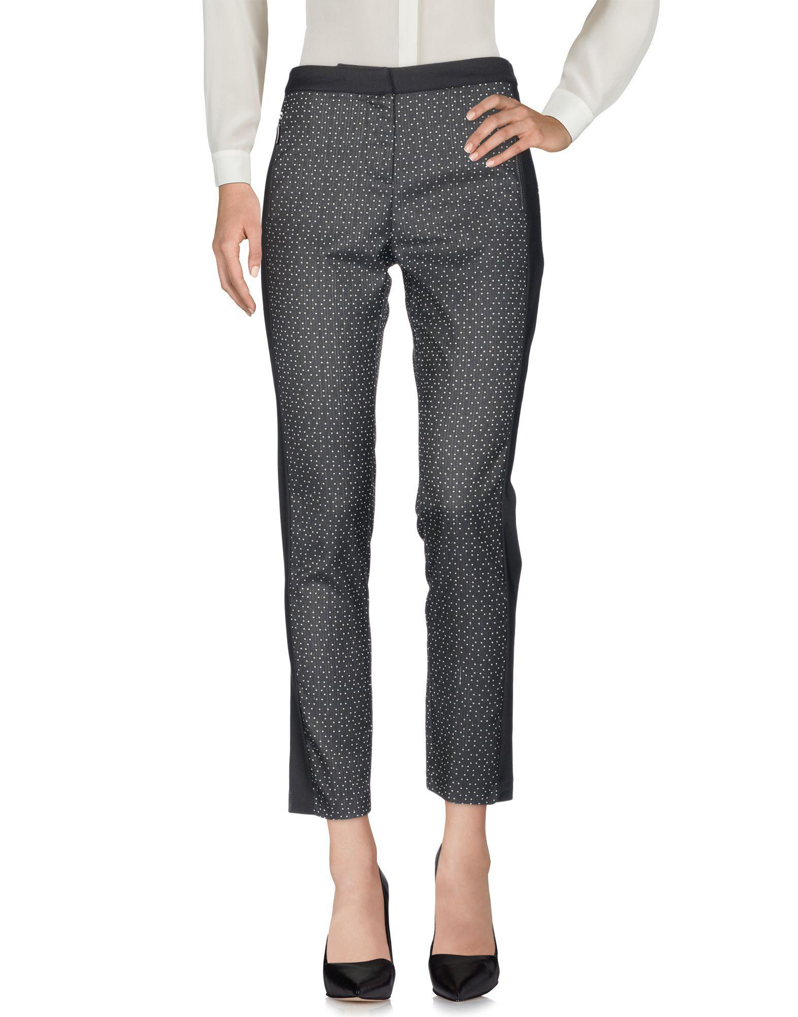 Black cotton blend mid-rise trousers