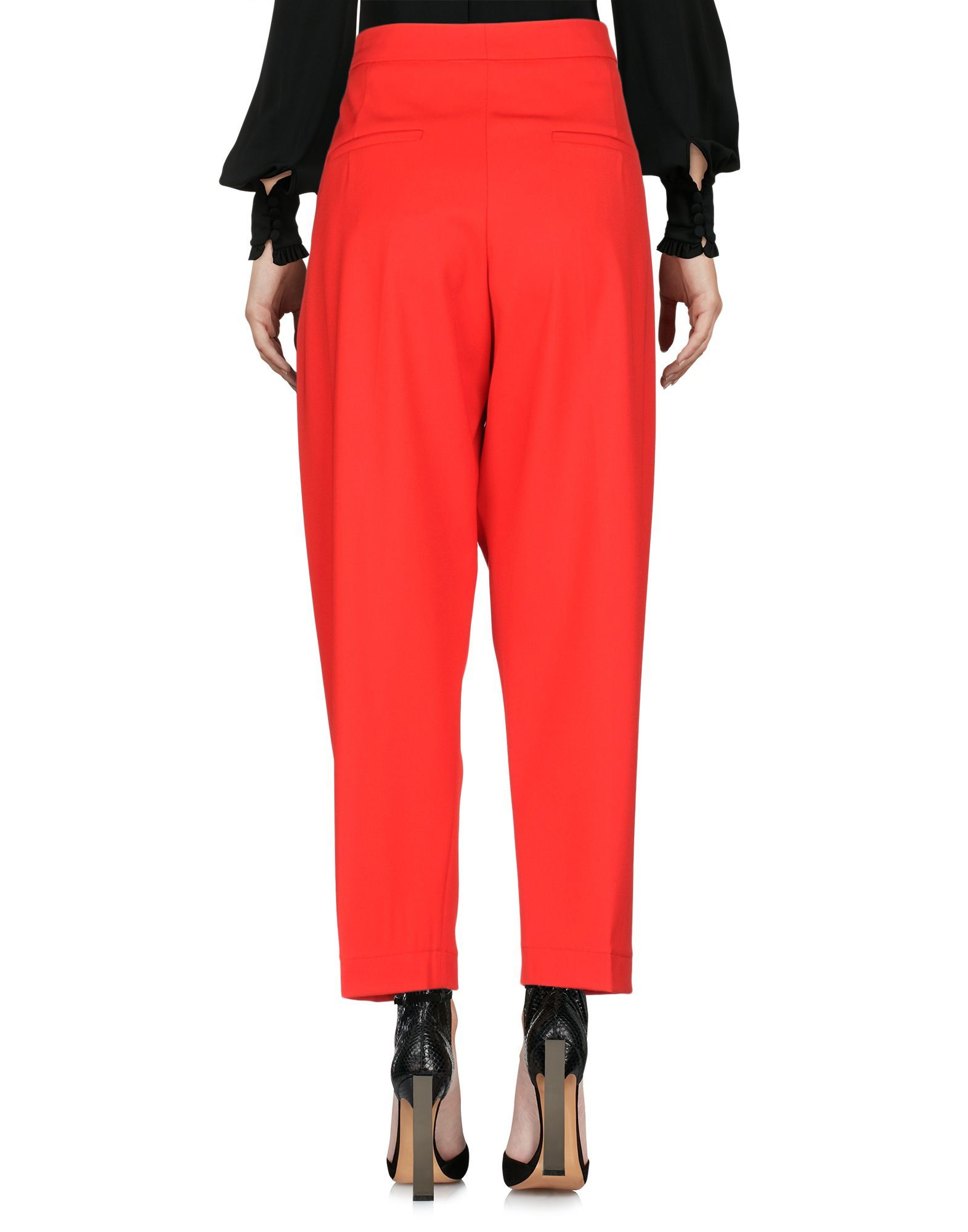 Marni Red Cotton Cropped Wide Leg Trousers