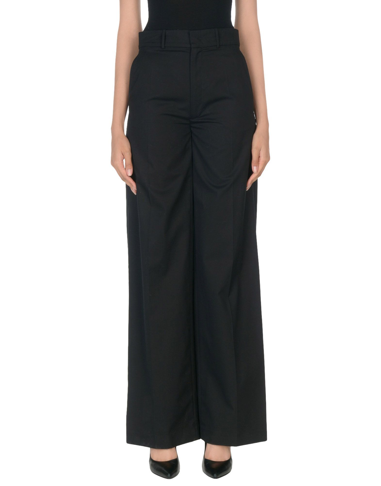 Joseph Black Cotton Wide Leg Trousers