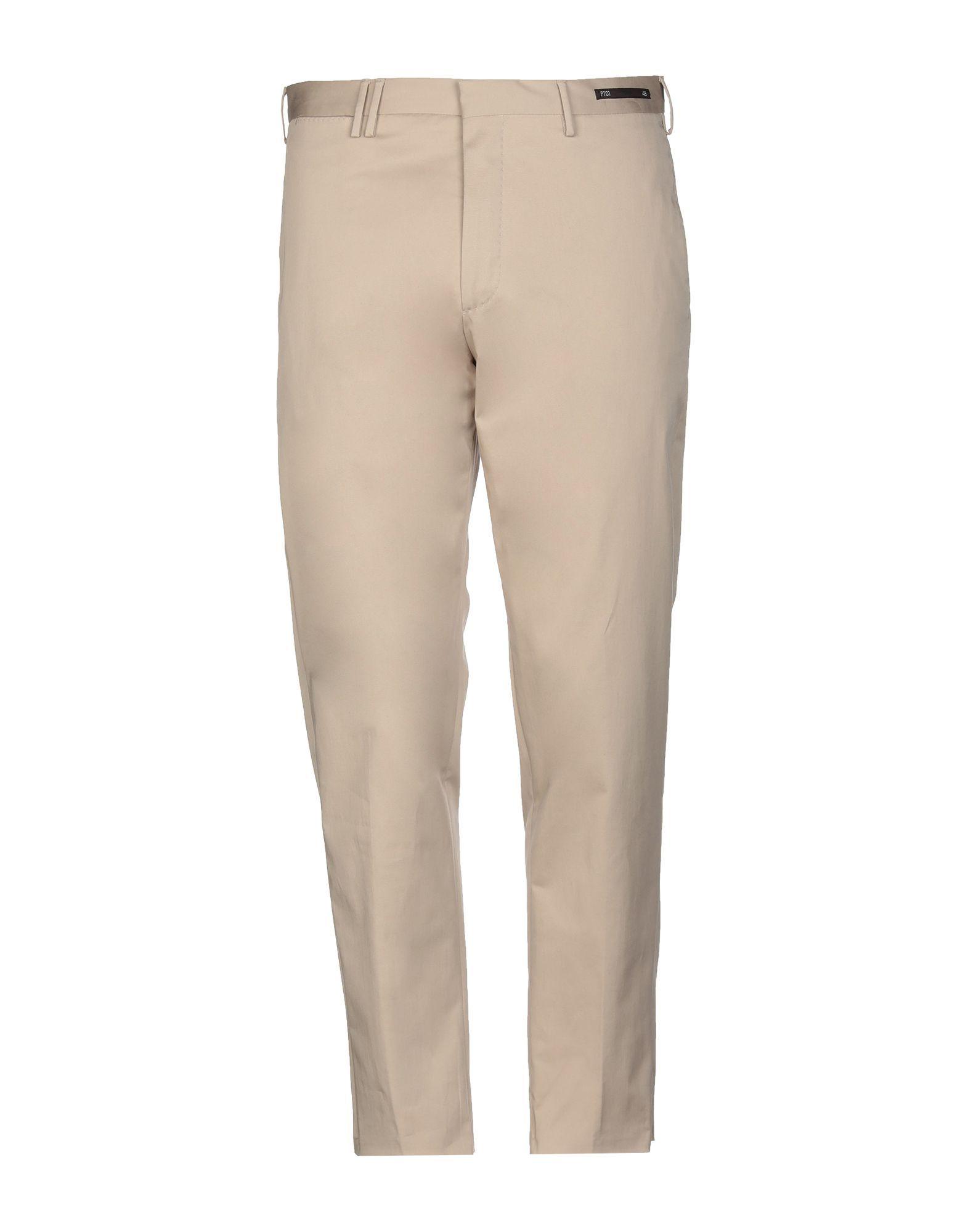 PT01 Beige Cotton Regular Fit Trousers