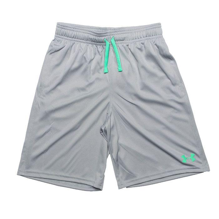 Boy's Under Armour Junior UA Prototype Wordmark Shorts in Grey