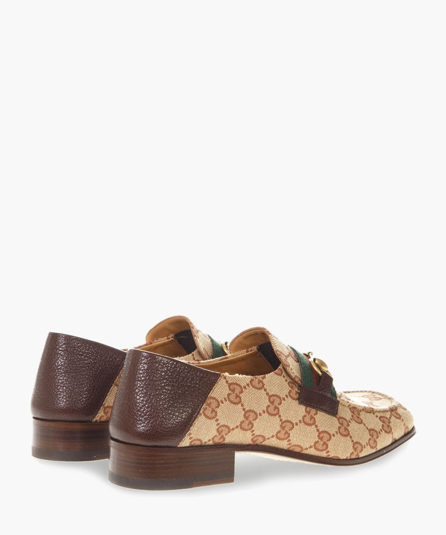 Brown leather and canvas monogram loafers