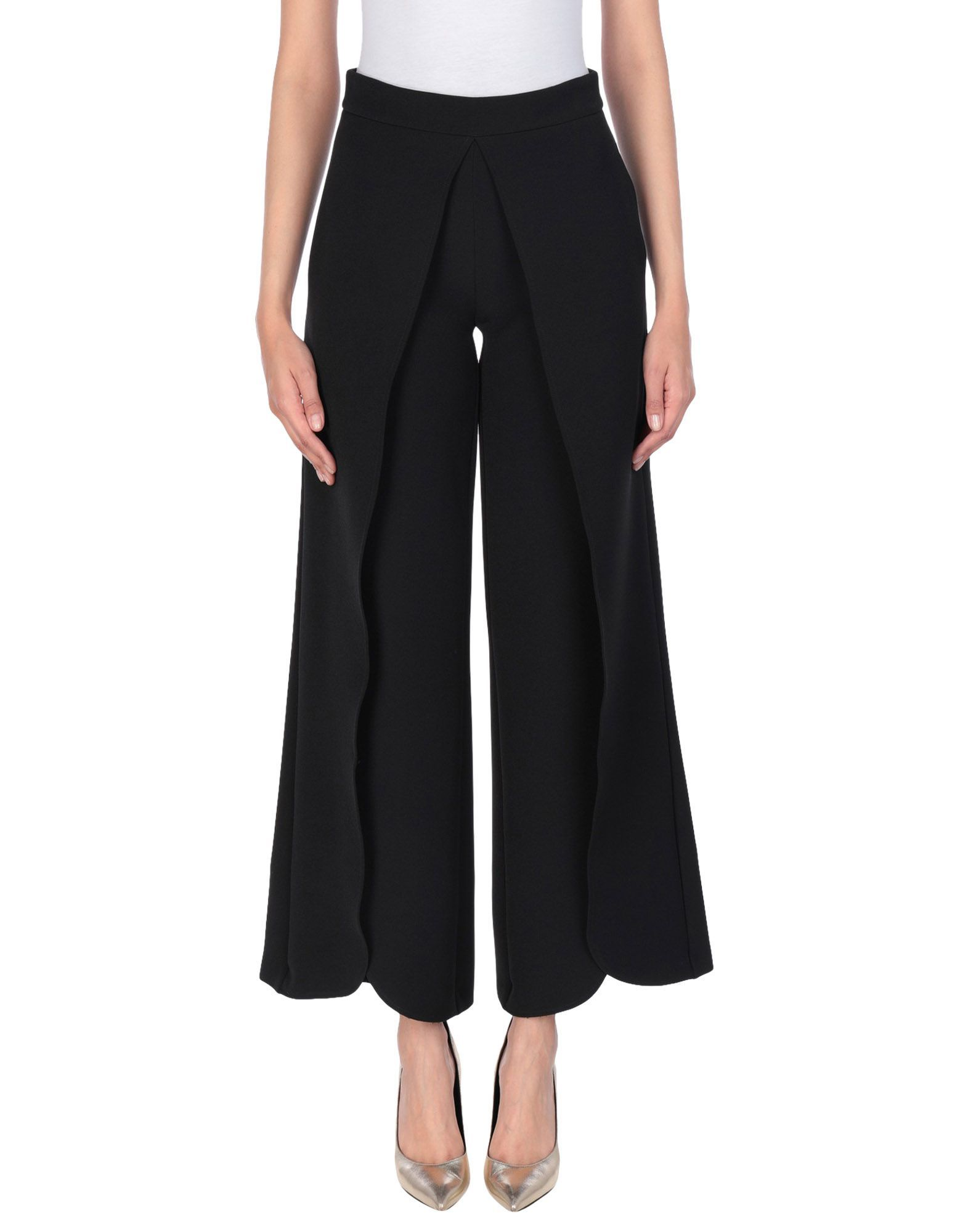 Cristinaeffe Black Scalloped Hem Cropped Trousers