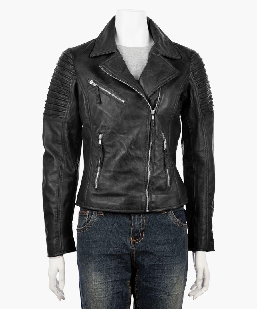 Womens asymmetric black biker jacket