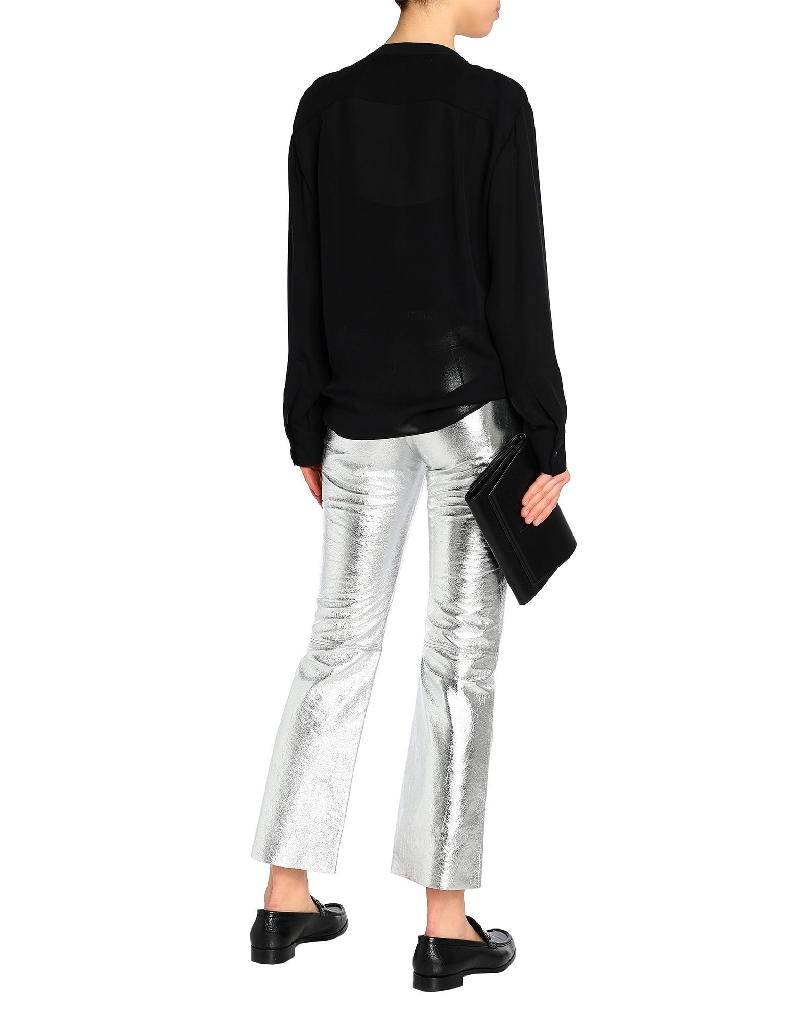 Sandro Silver Lambskin Leather Trousers