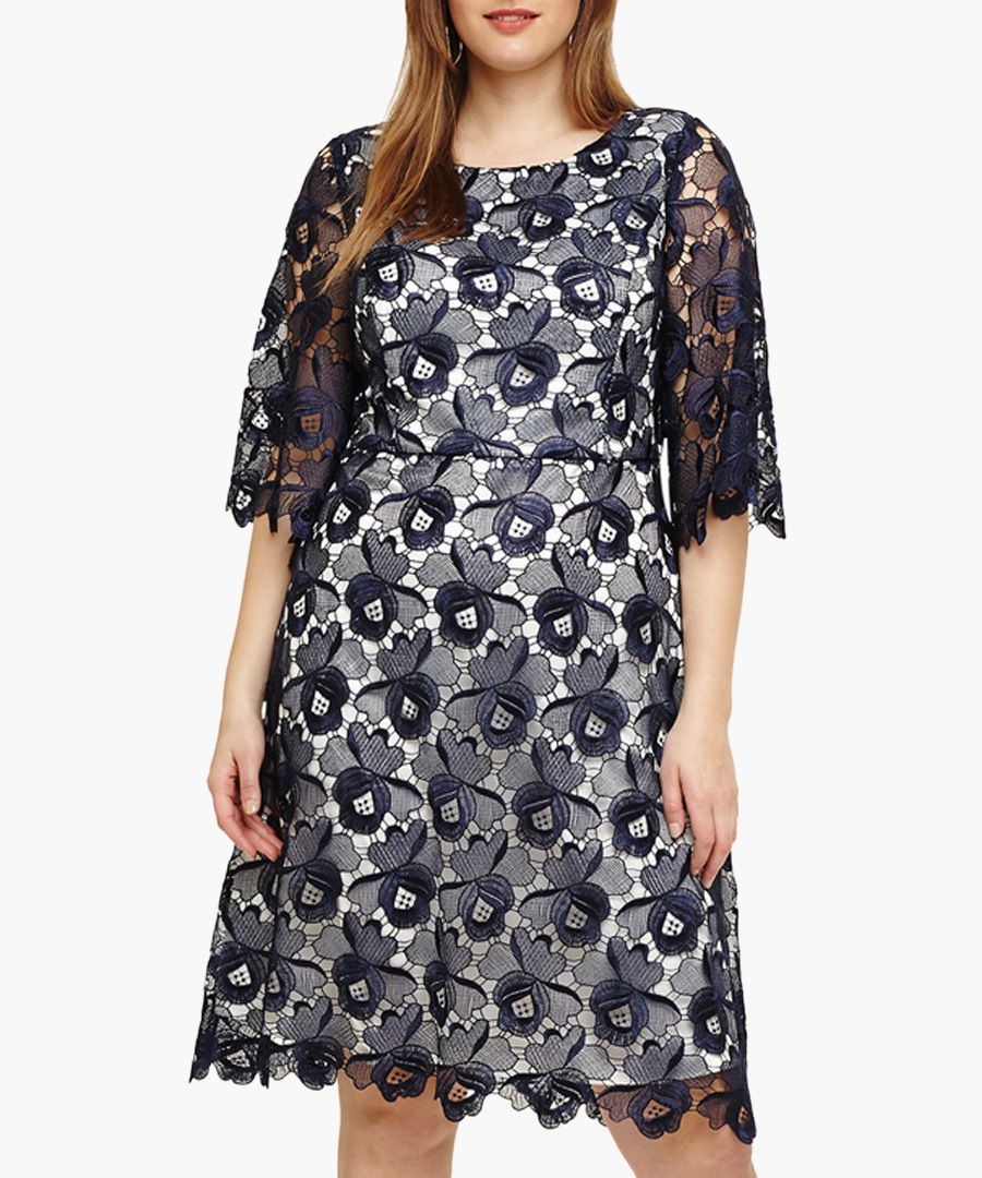Tilly navy lace detail floral dress