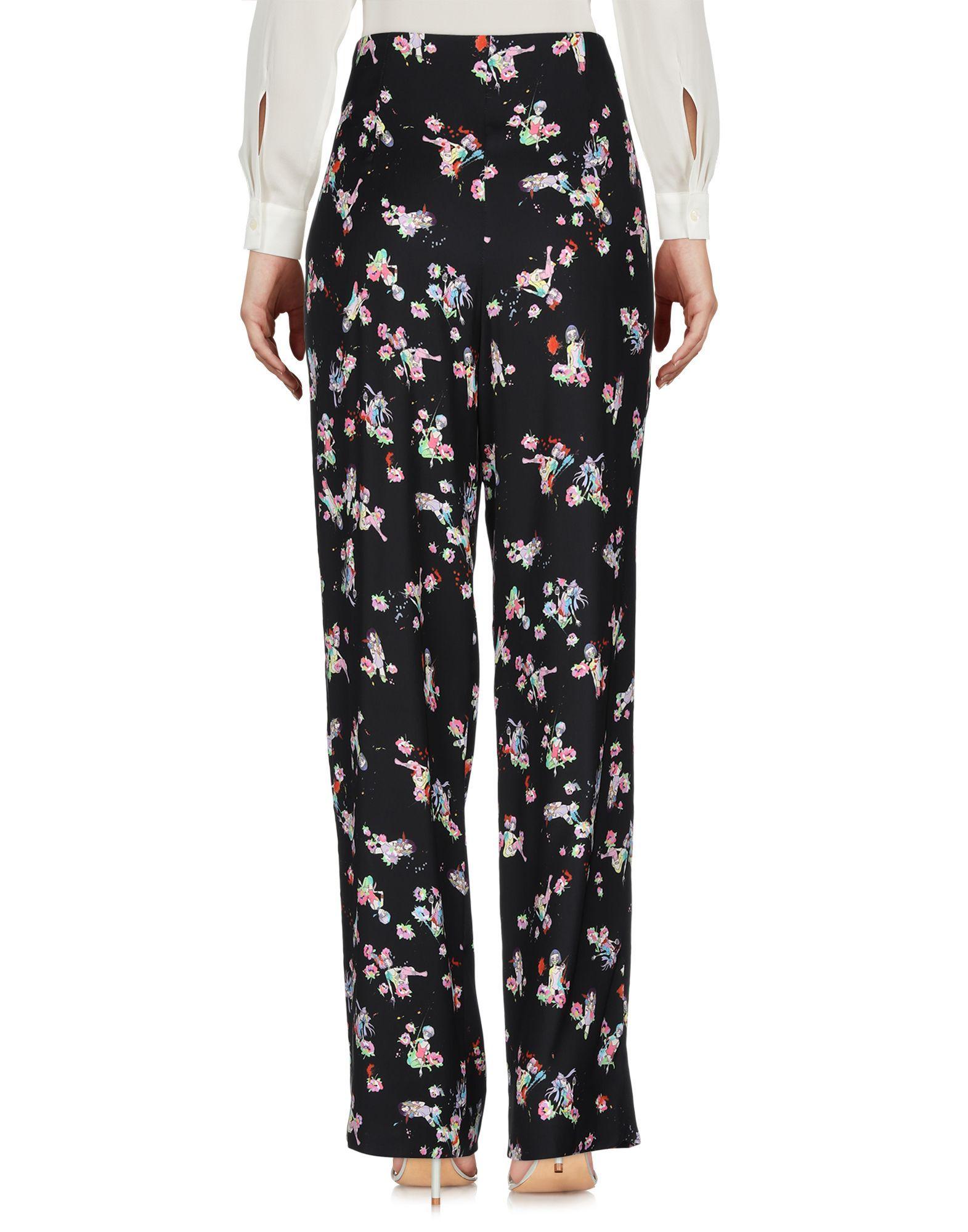 Maison Margiela Black Floral Wide Leg Trousers