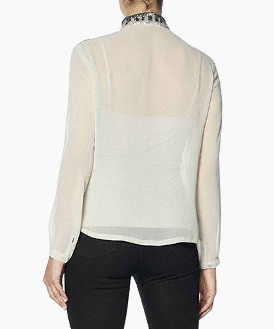 Elena Ash Mandarin Collar Top
