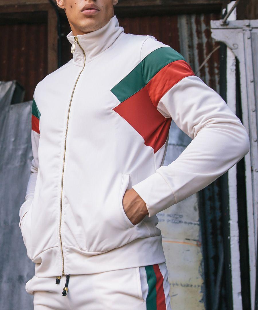 Cuccio off-white stripe zip-up top