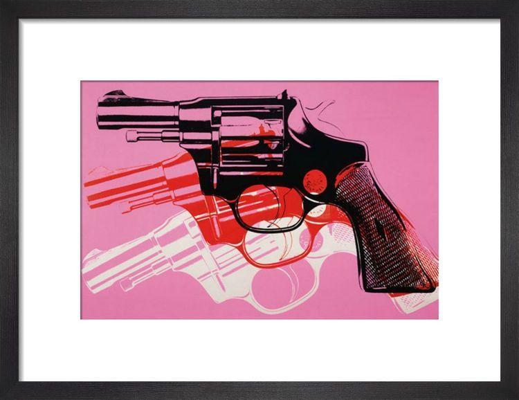 Gun, c.1981-82 (black, white, red on pink) Art print by Andy Warhol