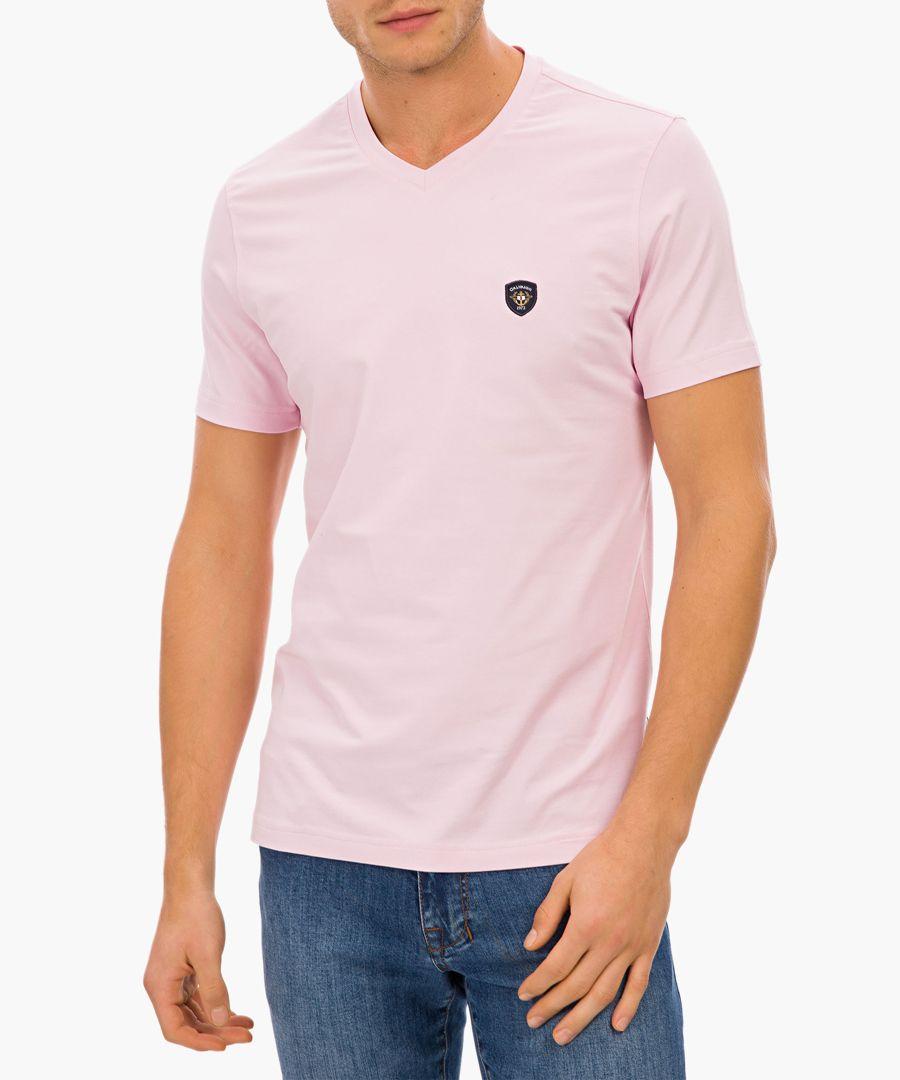 Pink cotton blend logo v-neck t-shirt